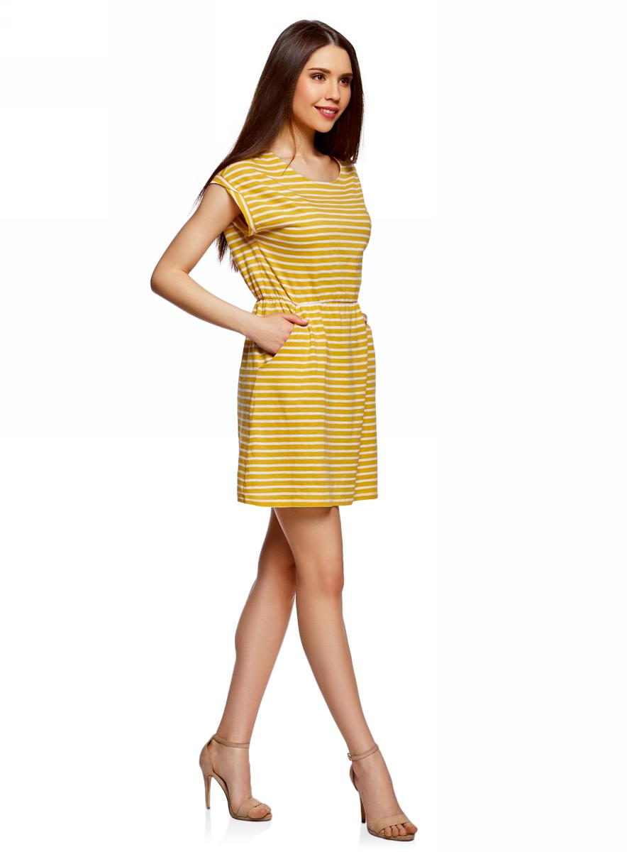 Платье oodji Ultra, цвет: желтый, белый. 14008019B/45518/5212S. Размер XXS (40)14008019B/45518/5212SТрикотажное платье с карманами oodji изготовлено из качественного натурального хлопка. Модель выполнена с круглым вырезом и короткими рукавами. Платье-мини на талии собрано на внутреннюю резинку.