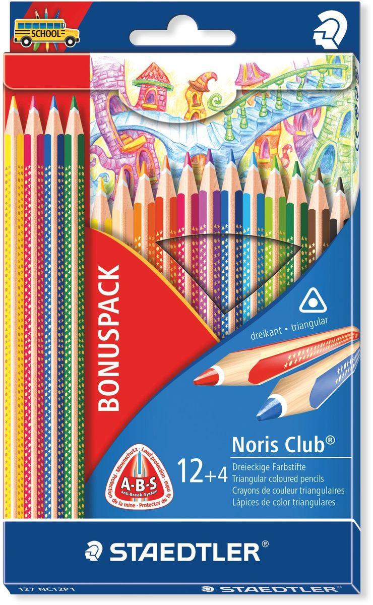 Staedtler Набор цветных карандашей Noris Club 127 16 шт127NC12P1Набор цветных карандашей Noris Club 127 серии имеют эргономичную трехгранную форму для удобного и легкого письма. A-B-S - белое защитное покрытие для укрепления грифеля и для защиты от поломки. Привлекательный дизайн звезды с полем для имени. Очень мягкий и яркий грифель. При производстве используется древесина сертифицированных и специально подготовленных лесов.