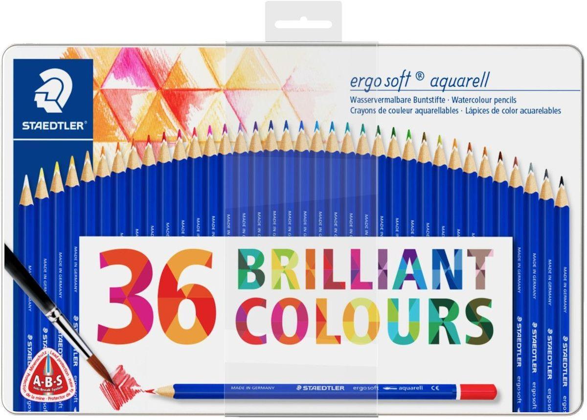Staedtler Набор акварельных карандашей Ergosoft 156 36 цветов156M36Набор акварельных карандашей Ergosoft, в металлической упаковке с подвесом, 36 ярких цветов. Эргономичная трехгранная форма для удобного и легкого письма. Уникальное, нескользящее мягкое покрытие с полем для имени. A-B-S - белое защитное покрытие для укрепления грифеля и для защиты от поломки. Очень мягкий и яркий грифель. Лак на водной основе. При производстве используется древесина сертифицированных и специально подготовленных лесов.