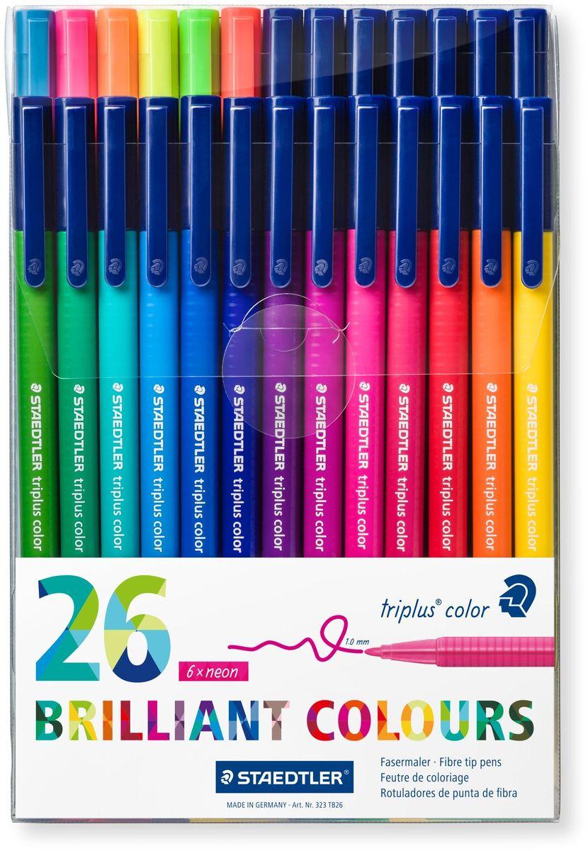 Staedtler Набор фломастеров Triplus 323 Яркие цвета 26 цветов -  Фломастеры