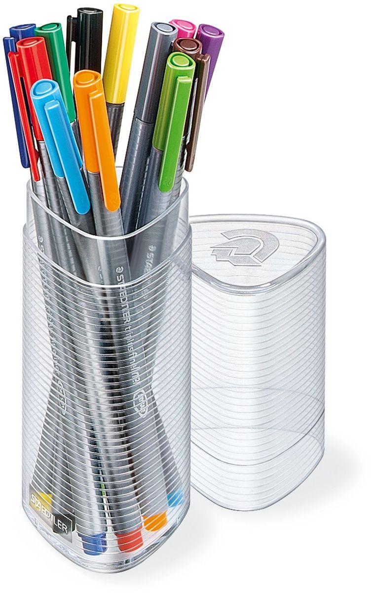 Staedtler Набор капиллярных ручек Triplus 334 12 цветов749150Набор трехгранных капиллярных ручек Triplus в треугольном пластиковом пенале. 12 ярких цветов. Эргономичная форма для удобного и легкого письма. Пишущий узел завальцован в металл. Защита от высыхания - может быть оставлен без колпачка на несколько дней (тест ISO). Чернила на водной основе. Отстирываются с большинства тканей. Корпус из полипропилена гарантирует долгий срок службы.