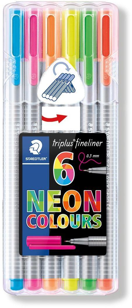 Staedtler Набор капиллярных ручек Triplus 334 6 неоновых цветов334SB6CS3Набор трехгранных капиллярных ручек Triplus в в пластиковой коробке - подставке. 6 неоновых цветов. Эргономичная форма для удобного и легкого письма. Пишущий узел завальцован в металл. Защита от высыхания - может быть оставлен без колпачка на несколько дней (тест ISO). Чернила на водной основе. Отстирываются с большинства тканей. Корпус из полипропилена гарантирует долгий срок службы.