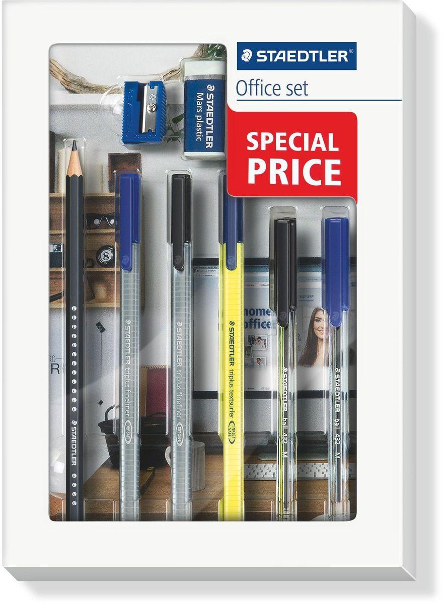 Staedtler Канцелярский набор Office Set 8 предметов60SET1PОфисный набор для письма в удобной упаковке содержит 8 предметов: 2 капиллярные ручки Triplus (синяя и черная), текстовыделитель Triplus Textsurfer, чернографитовый HB карандаш, ластик, точилка для карандаша, 2 шариковые ручки Ball.