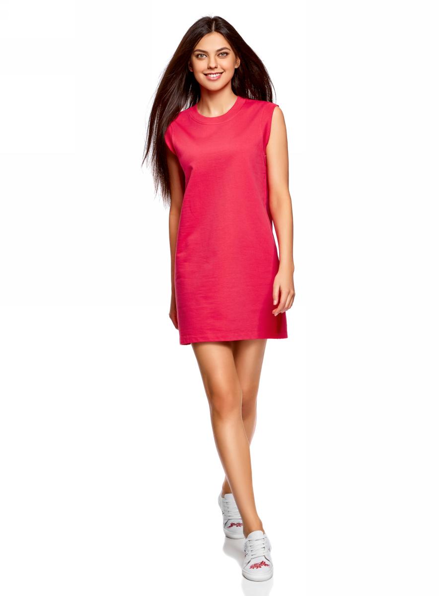 Платье oodji Ultra, цвет: ярко-розовый. 14008015-3B/47481/4D00N. Размер XS (42)14008015-3B/47481/4D00NКороткое платье oodji изготовлено из качественного плотного материала. Удобная модель выполнена с круглым вырезом и без рукавов.
