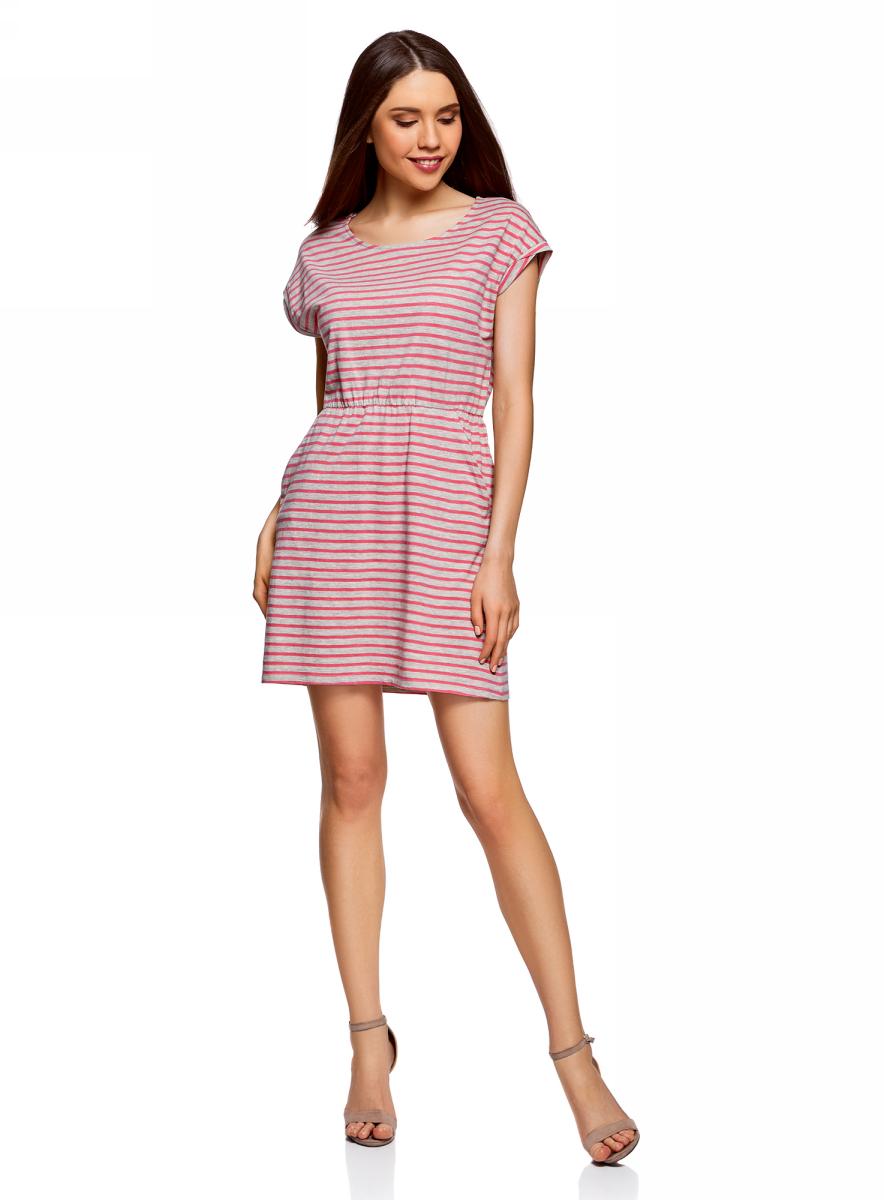Платье oodji Ultra, цвет: ярко-розовый, светло-серый. 14008019B/45518/4D20S. Размер M (46)14008019B/45518/4D20SТрикотажное платье с карманами oodji изготовлено из качественного натурального хлопка. Модель выполнена с круглым вырезом и короткими рукавами. Платье-мини на талии собрано на внутреннюю резинку.