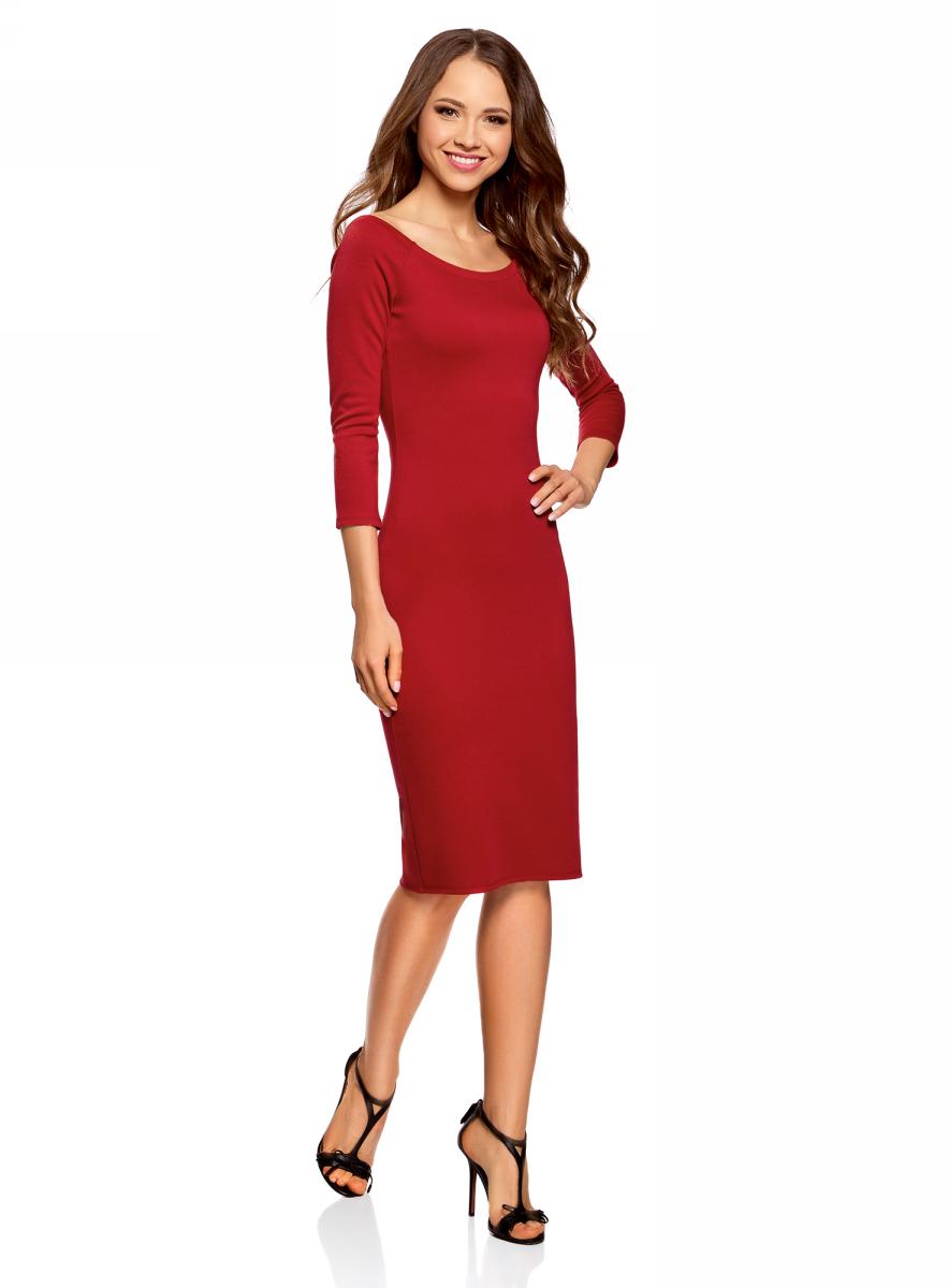 Платье oodji Ultra, цвет: красный. 14017001-1B/37809/4501N. Размер L (48)14017001-1B/37809/4501NСтильное обтягивающее платье oodji Ultra, выгодно подчеркивающее достоинства фигуры, изготовлено из качественного эластичного материала. Модель миди-длины выполнена с вырезом-лодочкой и рукавами 3/4.