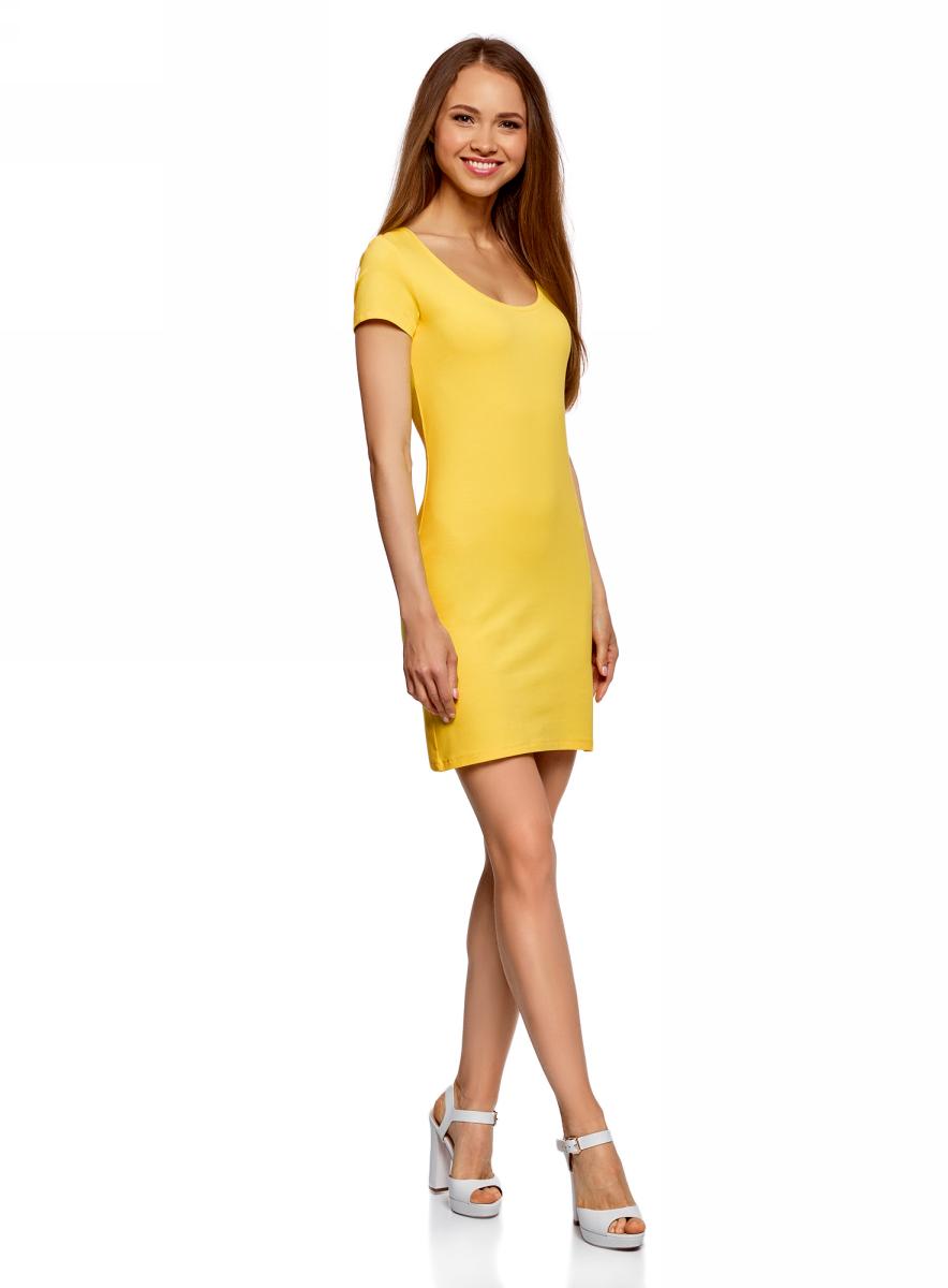 Платье oodji Ultra, цвет: лимонный. 14001182B/47420/5100N. Размер XXS (40)14001182B/47420/5100NОблегающее платье oodji Ultra выполнено из качественного трикотажа. Модель мини-длины с круглым вырезом горловиныи короткими рукавами выгодно подчеркивает достоинства фигуры.
