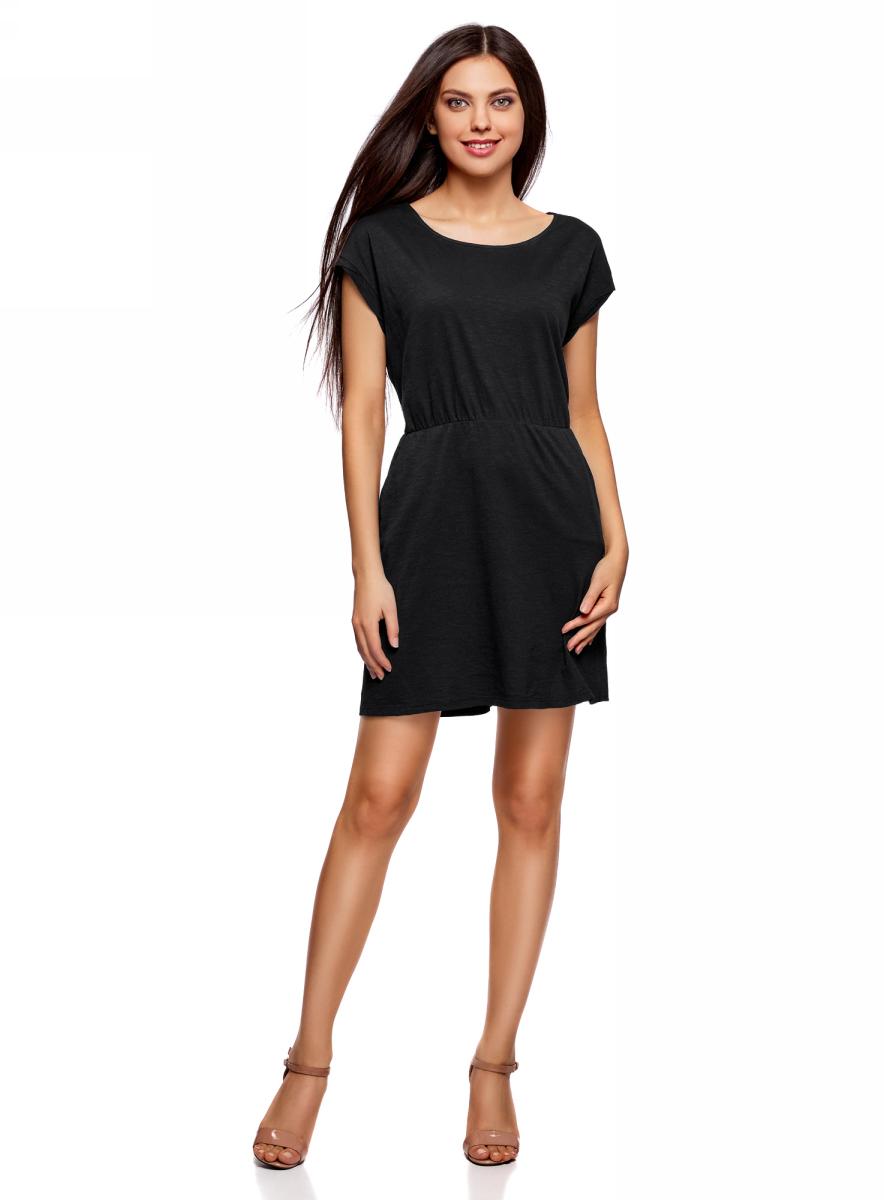 Платье oodji Ultra, цвет: черный. 14008019B/45518/2900N. Размер S (44)14008019B/45518/2900NТрикотажное платье с карманами oodji изготовлено из качественного натурального хлопка. Модель выполнена с круглым вырезом и короткими рукавами. Платье-мини на талии собрано на внутреннюю резинку.