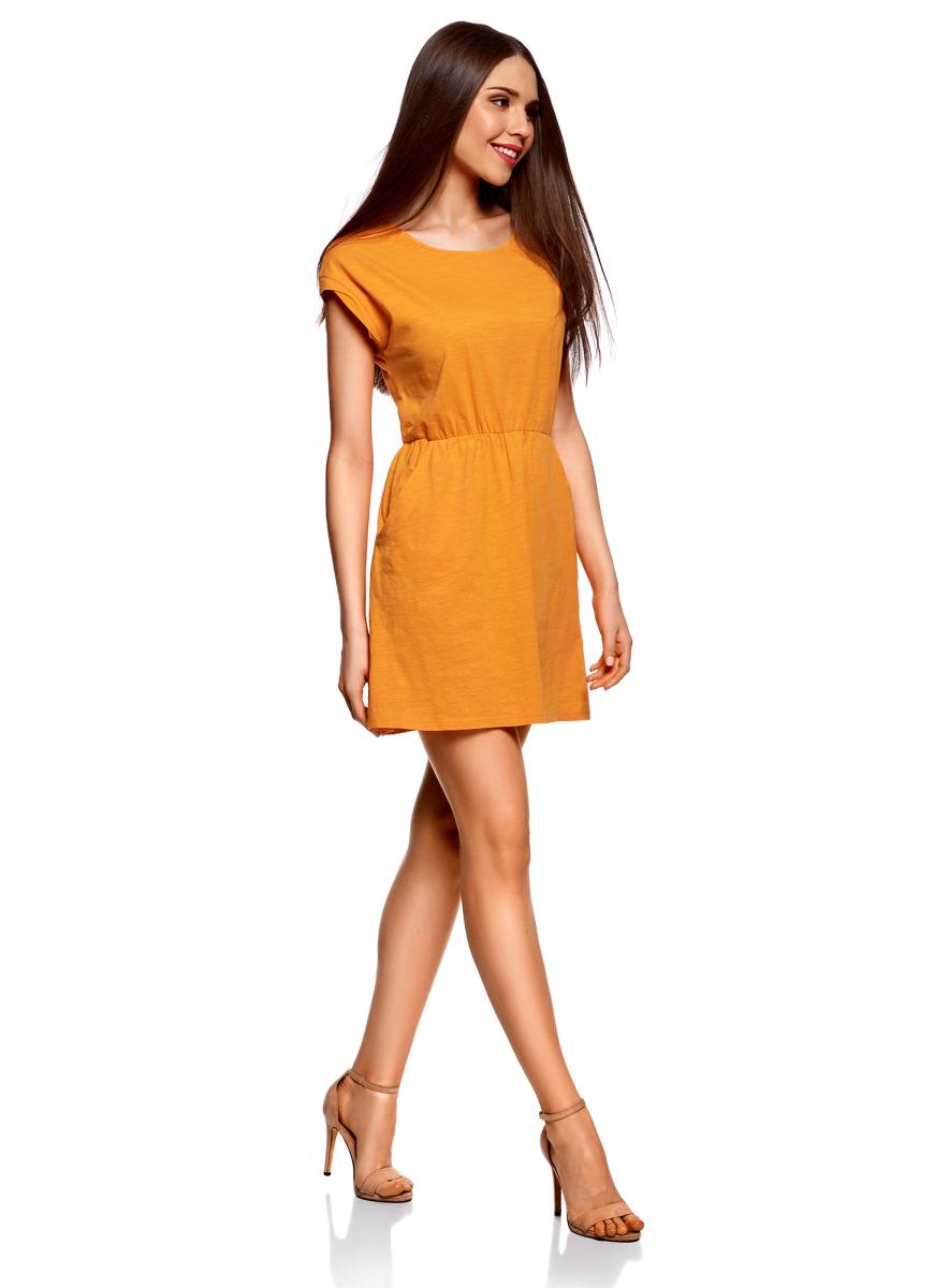 Платье oodji Ultra, цвет: оранжевый. 14008019B/45518/5500N. Размер XS (42)14008019B/45518/5500NТрикотажное платье с карманами oodji изготовлено из качественного натурального хлопка. Модель выполнена с круглым вырезом и короткими рукавами. Платье-мини на талии собрано на внутреннюю резинку.