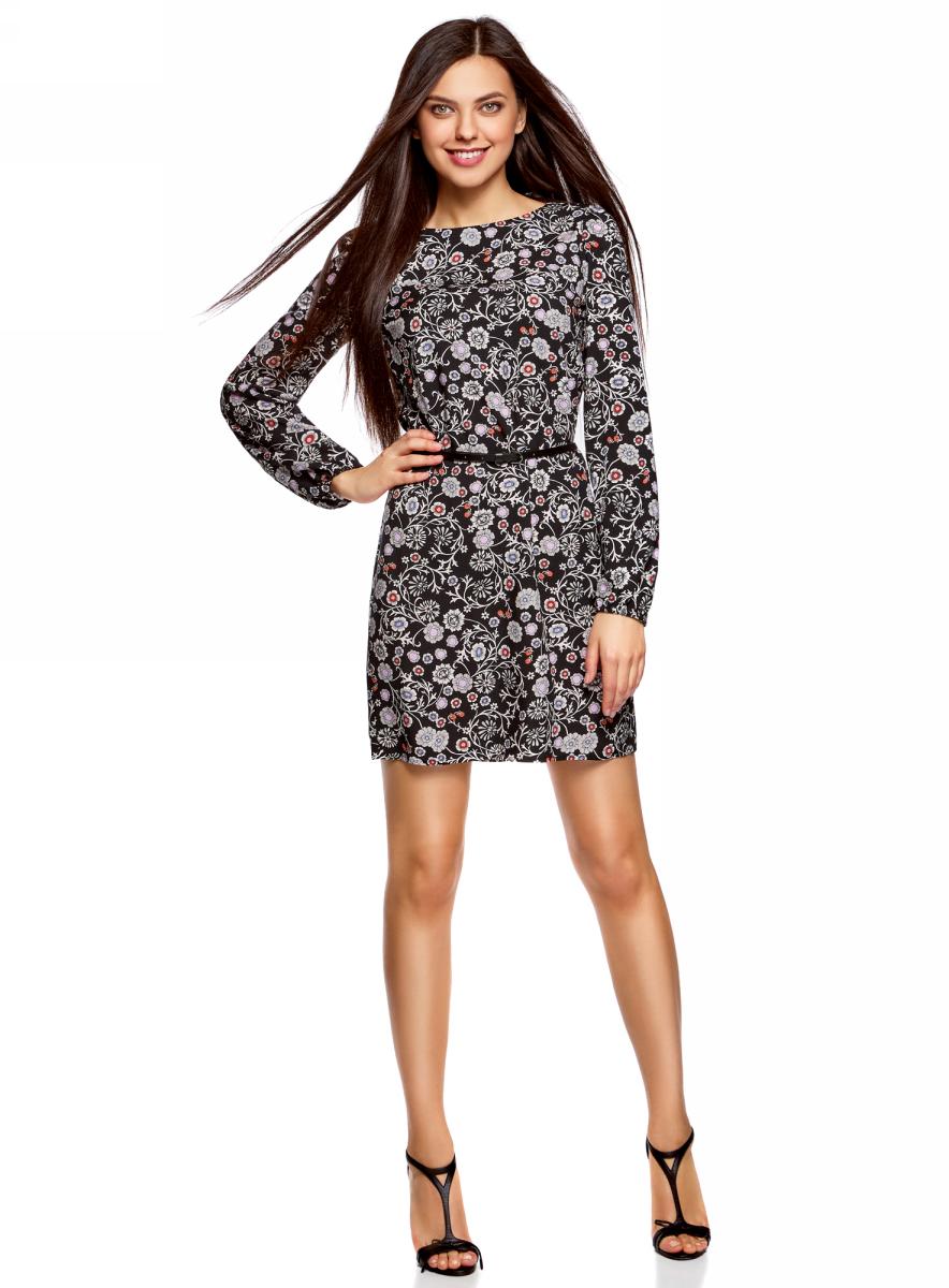 Платье oodji Ultra, цвет: черный, кремовый. 11900150-8B/42540/2930F. Размер 40 (46-170)11900150-8B/42540/2930FСтильное платье oodji Ultra выполнено из вискозы. Модель с круглым вырезом горловины и длинными рукавами дополнена узким ремнем из искусственной кожи с металлической пряжкой. Низ рукавов собран на резинку.