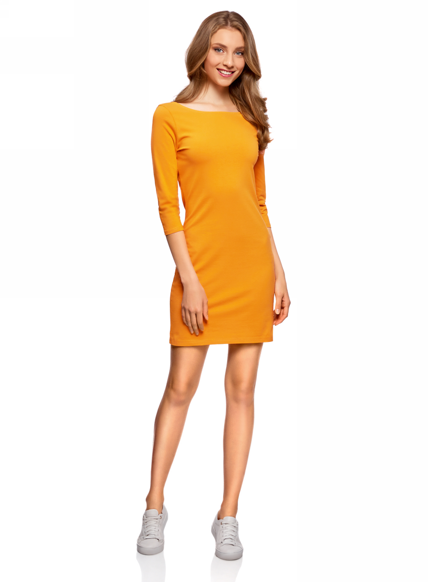 Платье oodji Ultra, цвет: оранжевый, синий, 2 шт. 14001071T2/46148/19V5N. Размер XXS (40)