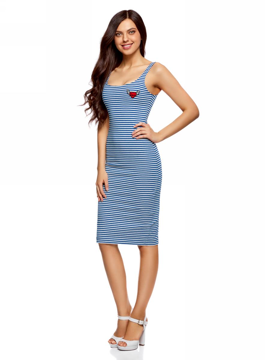 Платье oodji Ultra, цвет: синий, белый. 14015007-7/47420/7512S. Размер XS (42)14015007-7/47420/7512SЛегкое обтягивающее платье oodji Ultra, выгодно подчеркивающее достоинства фигуры, выполнено из качественного эластичного хлопка. Модель миди-длины с круглым вырезом горловины и узкими бретелями дополнена разрезом на юбке с задней стороны. На груди платье дополнено оригинальной аппликацией.