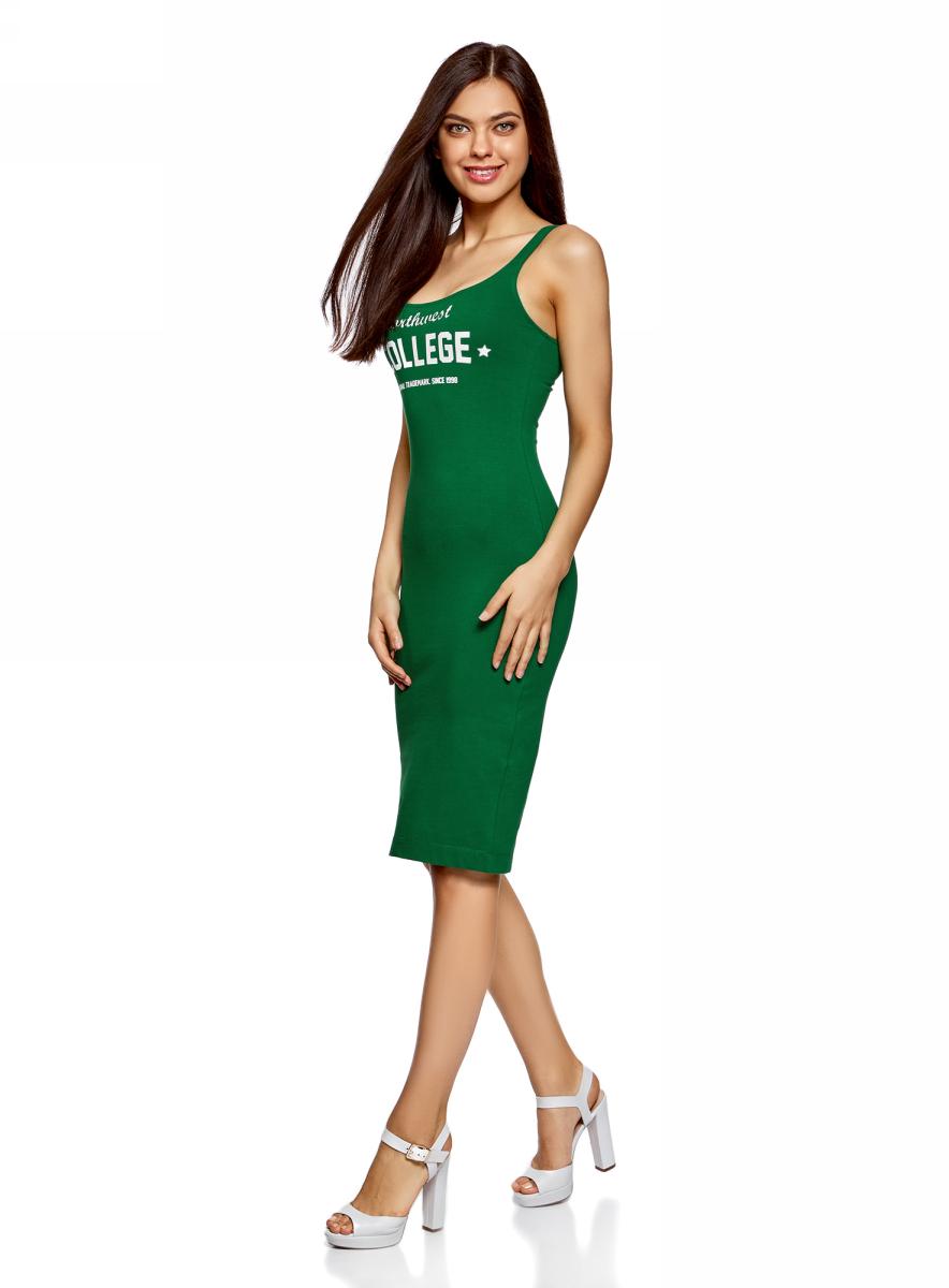 Платье oodji Ultra, цвет: темно-изумрудный, белый. 14015007-6/47420/6E12P. Размер S (44)14015007-6/47420/6E12PЛегкое обтягивающее платье oodji Ultra, выгодно подчеркивающее достоинства фигуры, выполнено из качественного эластичного хлопка и оформлено контрастной надписью. Модель миди-длины с круглым вырезом горловины и узкими бретелями дополнена разрезом на юбке с задней стороны. Мягкая ткань приятна на ощупь и комфортна в носке.
