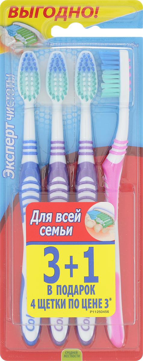 Colgate Зубная щетка Эксперт чистоты, средней жесткости, 3+1, цвет: фиолетовый, синий, розовыйFVN52196_фиолетовый, синий, розовыйЗубная щетка Colgate Эксперт чистоты чистит и проникает в труднодоступные места. Выступающий кончик щетинок великолепно очищает задние коренные зубы. Мягкая резиновая подушечка для чистки языка удаляет бактерии, вызывающие неприятный запах изо рта. Товар сертифицирован.