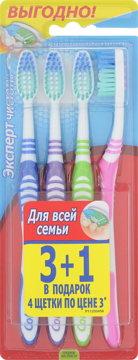 Colgate Зубная щетка Эксперт чистоты, средней жесткости, 3+1, цвет: синий, фиолетовый, зеленый, розовыйFVN52196_синий, фиолетовый, зеленый, розовыйЗубная щетка Colgate Эксперт чистоты чистит и проникает в труднодоступные места. Выступающий кончик щетинок великолепно очищает задние коренные зубы. Мягкая резиновая подушечка для чистки языка удаляет бактерии, вызывающие неприятный запах изо рта. Товар сертифицирован.