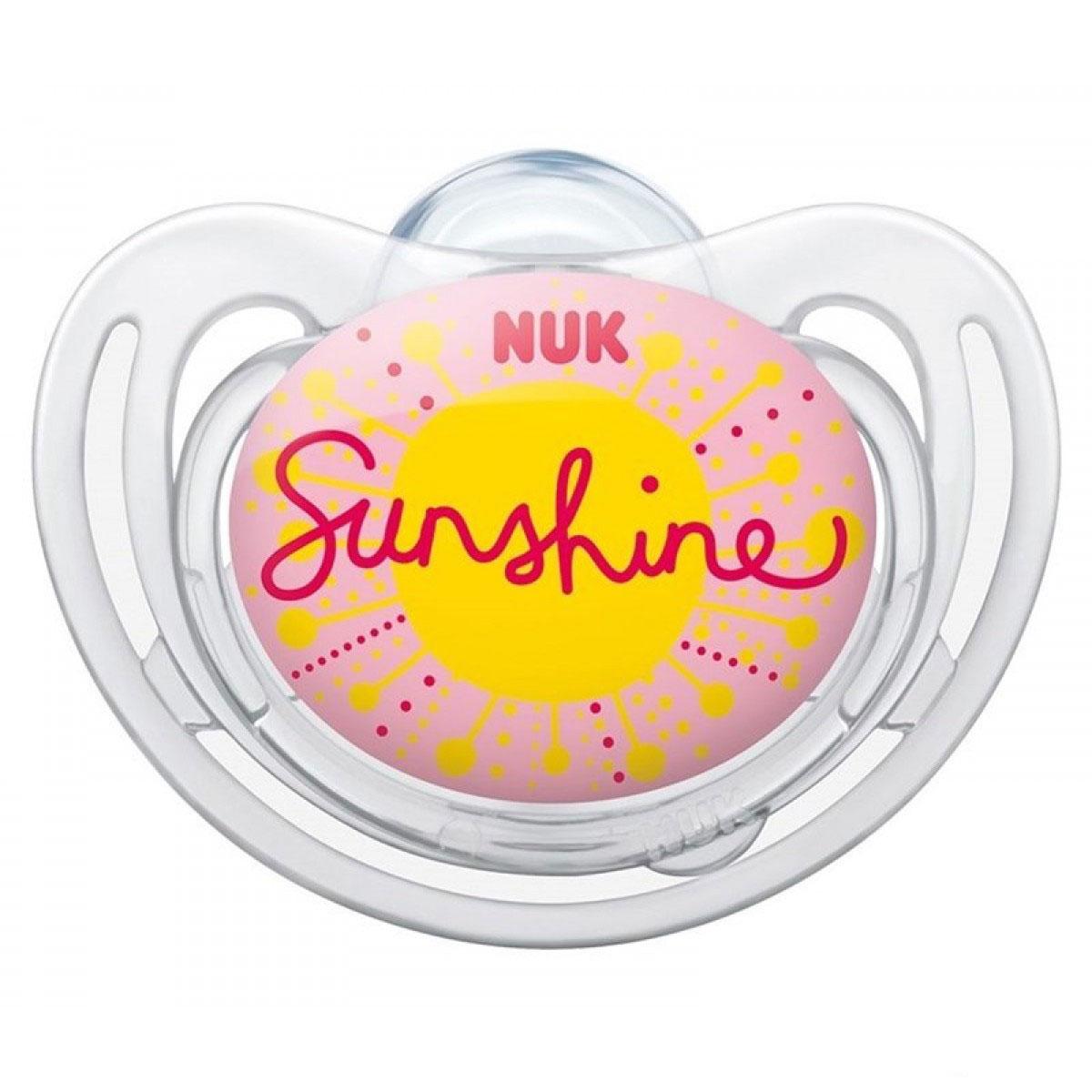 NUK Пустышка силиконовая для сна Freestyle. Солнышко, от 18 до 36 месяцев, ортодонтическая соска пустышка nuk night & day от 18 до 36 месяцев цвет салатовый синий
