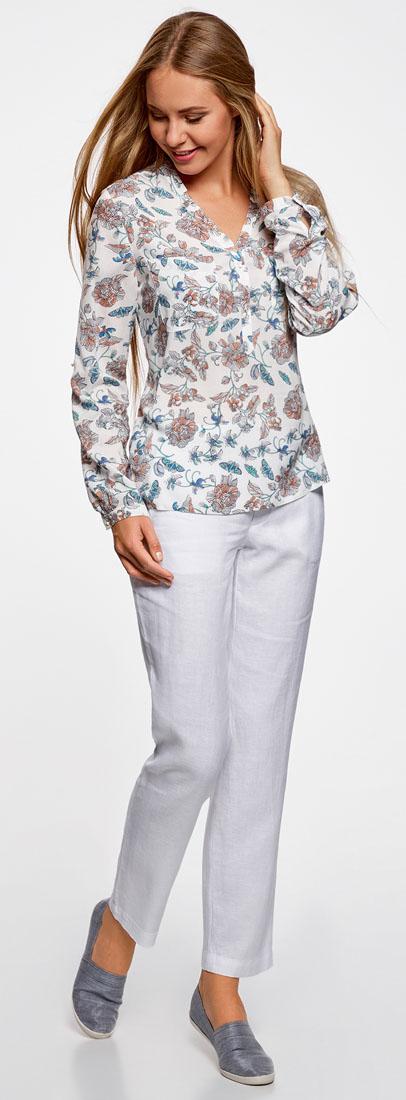 Брюки женские oodji Collection, цвет: белый. 21700202/34263N/1000N. Размер 38 (44-170)