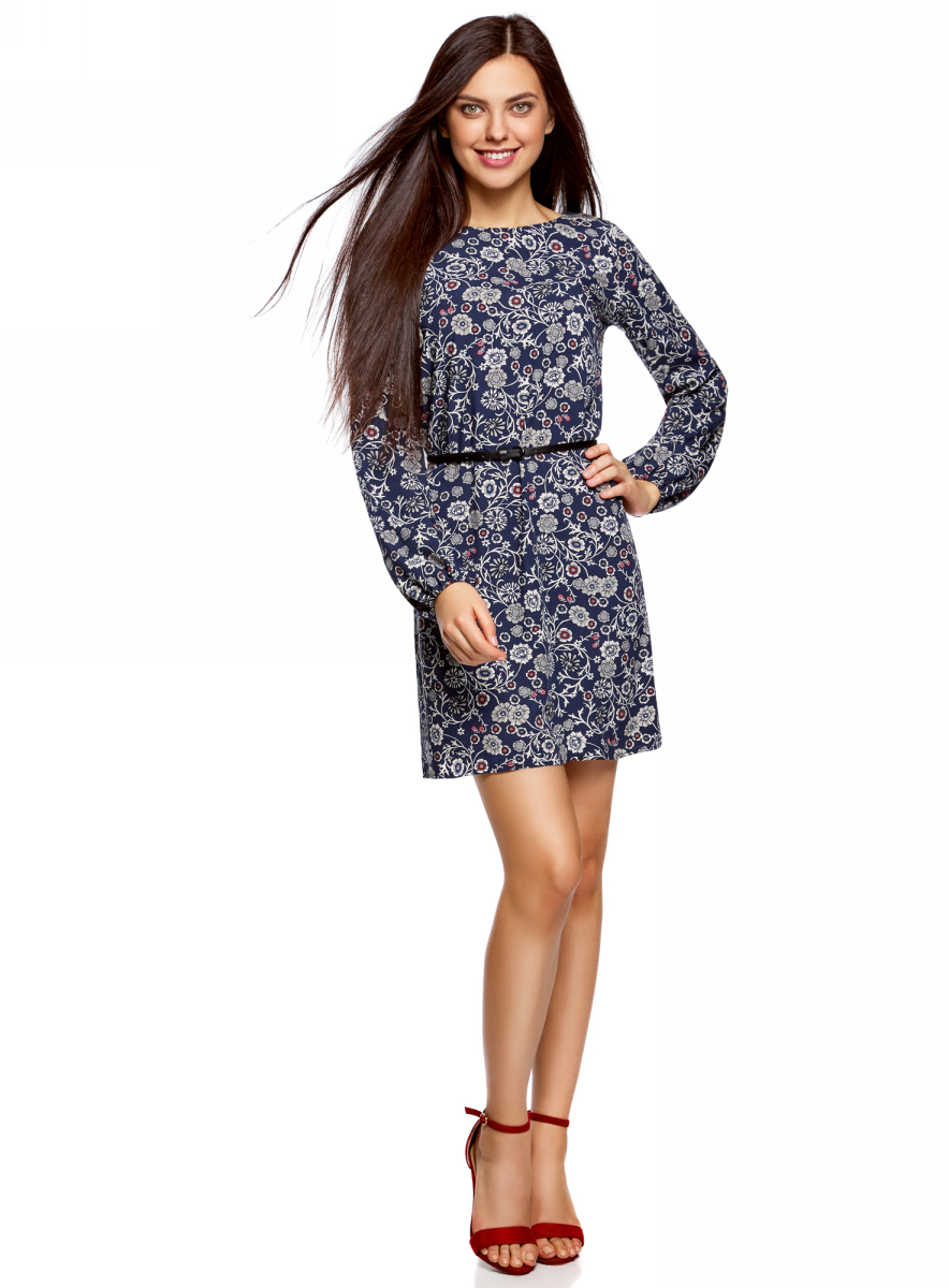 Платье oodji Ultra, цвет: темно-синий, кремовый. 11900150-8B/42540/7930F. Размер 34 (40-170)11900150-8B/42540/7930FСтильное платье oodji Ultra выполнено из вискозы. Модель с круглым вырезом горловины и длинными рукавами дополнена узким ремнем из искусственной кожи с металлической пряжкой. Низ рукавов собран на резинку.