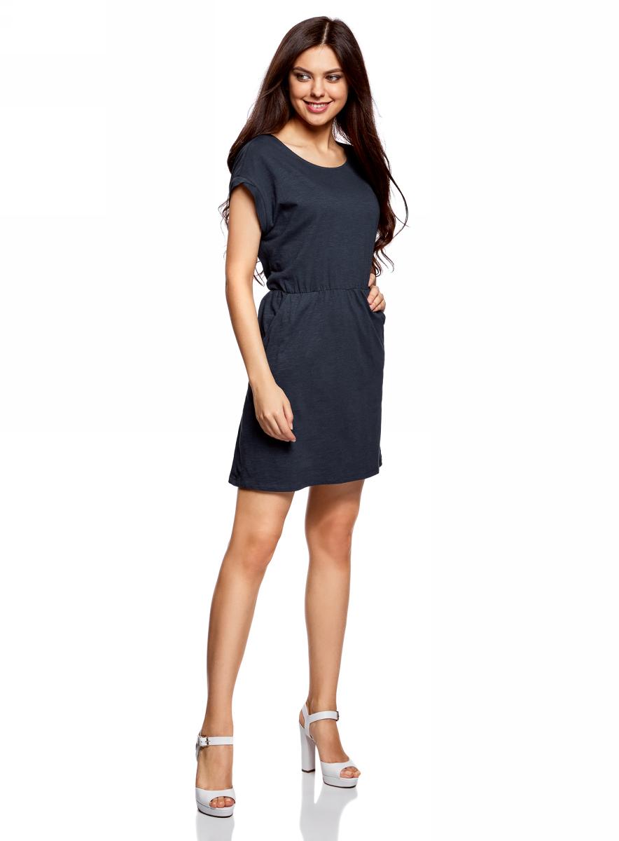 Платье oodji Ultra, цвет: темно-синий. 14008019B/45518/7900N. Размер XXS (40)14008019B/45518/7900NТрикотажное платье с карманами oodji изготовлено из качественного натурального хлопка. Модель выполнена с круглым вырезом и короткими рукавами. Платье-мини на талии собрано на внутреннюю резинку.