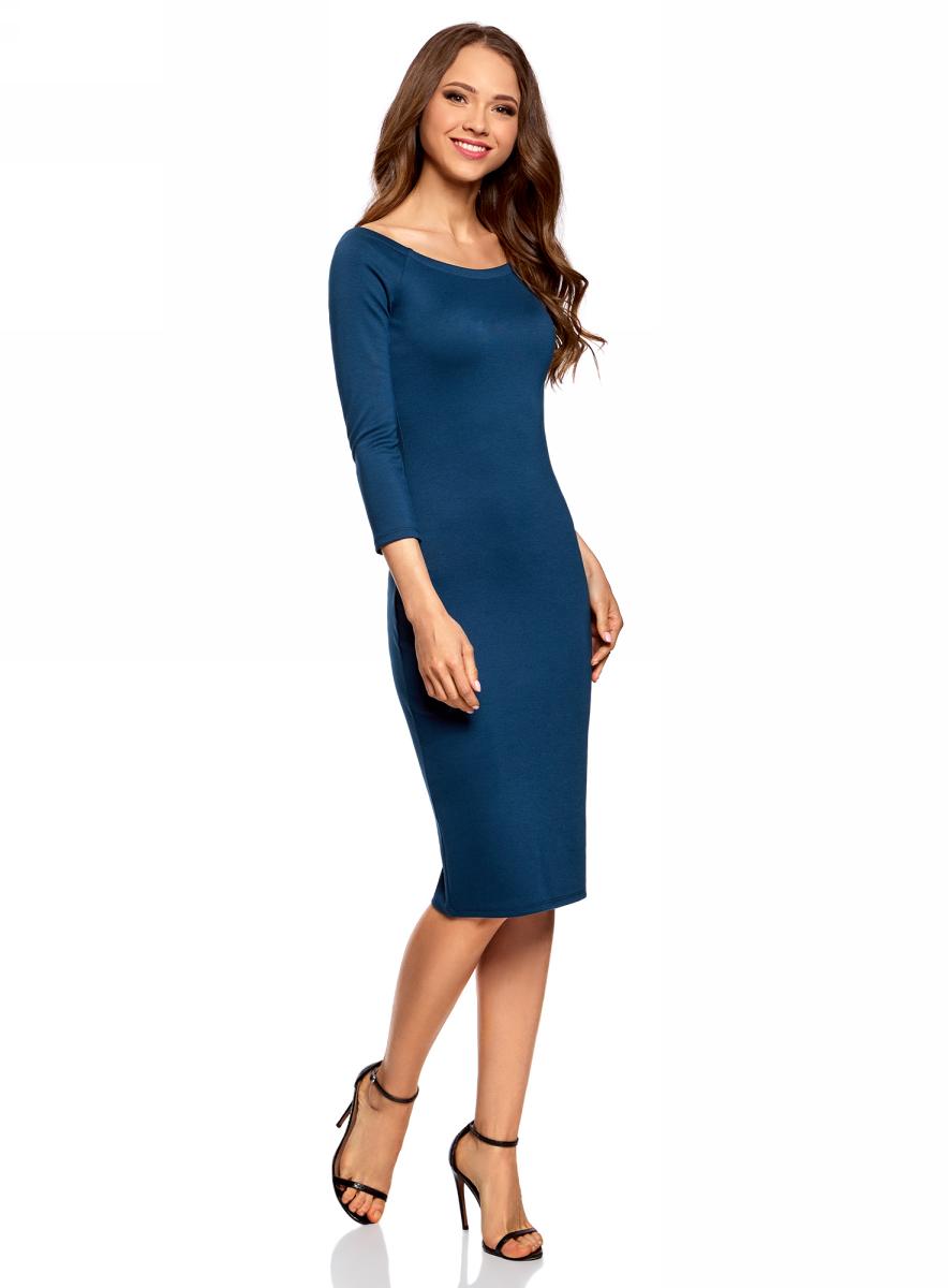 Платье oodji Ultra, цвет: темно-синий. 14017001-1B/37809/7901N. Размер XL (50)14017001-1B/37809/7901NСтильное обтягивающее платье oodji Ultra, выгодно подчеркивающее достоинства фигуры, изготовлено из качественного эластичного материала. Модель миди-длины выполнена с вырезом-лодочкой и рукавами 3/4.