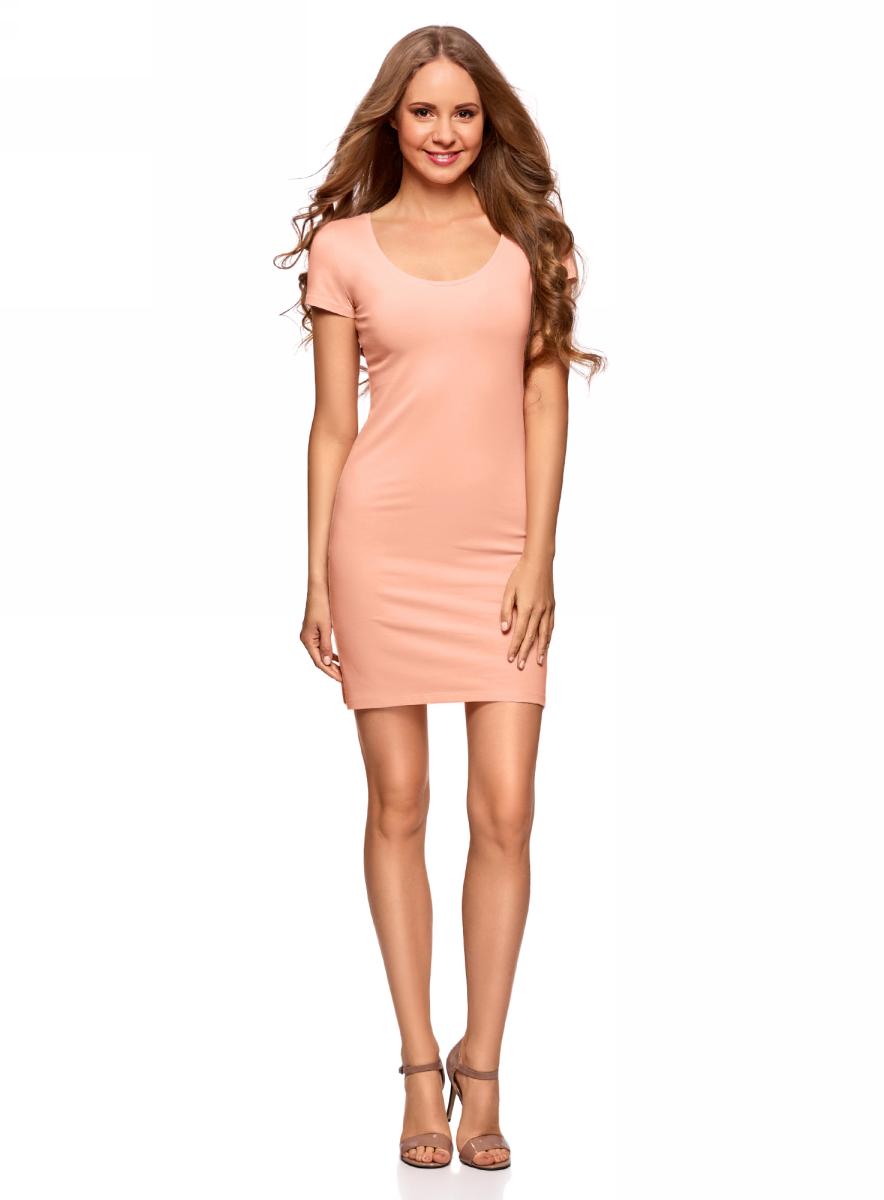 Платье oodji Ultra, цвет: персиковый, 2 шт. 14001182T2/47420/5400N. Размер L (48) платье oodji collection цвет голубой белый горох 24001082 2 47420 7010d размер l 48