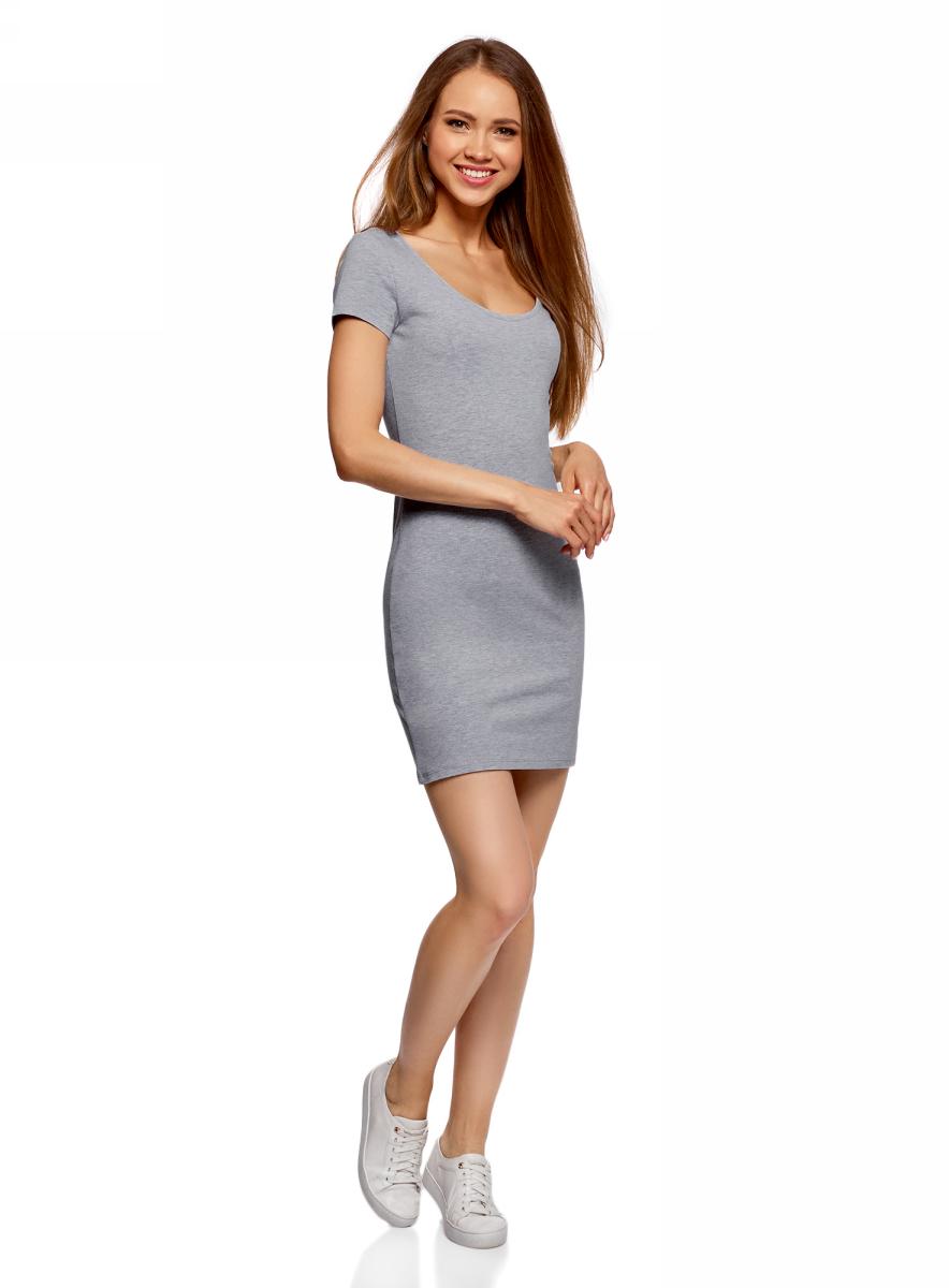 Платье oodji Ultra, цвет: светло-серый меланж, 2 шт. 14001182T2/47420/2000M. Размер L (48) платье oodji collection цвет голубой белый горох 24001082 2 47420 7010d размер l 48