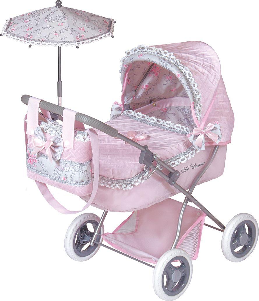 DeCuevas Коляска для куклы Романтик с сумкой и зонтом цвет розовый 65 см коляска i