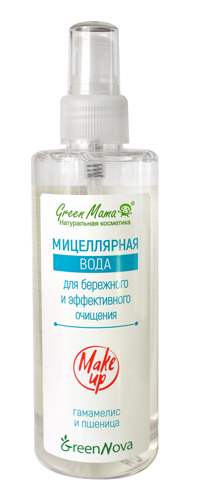 Мицеллярная вода Green Mama для бережного и эффективного очищения, 200 мл0407Мицеллярная вода – это мягкое очищающее средство для быстрого и бережного очищения, которое удаляет макияж и ухаживает за кожей. Благодаря составляющим основу средства очень маленьким частицам (мицеллам), которые отталкивают грязь с поверхности, не повреждая ее, кожа очищается мягко и деликатно. Для ещё более нежного и эффективного ухода в состав средства входят Д-пантенол, экстракты гамамелиса и пшеничных зародышей.Д-пантенол активно участвует в процессе восстановления и регенерации тканей. Экстракт гамамелиса богат флавоноидами и особыми веществами – танинами, обладающими высокими антибактериальными свойствами. Применение экстракта зародышей пшеницы активно стимулирует клетки, их омоложение и обновление, способствует увлажнению эпидермиса и питанию его микроэлементами.