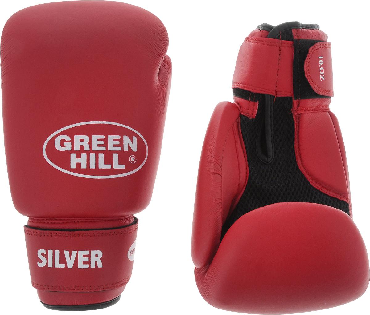 Боксерские перчатки Green Hill Silver, цвет: красный, черный. Размер 10 унций. BGS-2039BGS-2039Боксерские перчатки Green Hill Silver подойдут для легких спаррингов и тренировок. Верх выполнен из высококачественной искусственной кожи, наполнитель - из вспененного полимера. Материал на ладони выполнен по технологии, которая позволяет руке дышать. Манжет на липучке способствует быстрому и удобному надеванию перчаток, плотно фиксирует перчатки на руке.