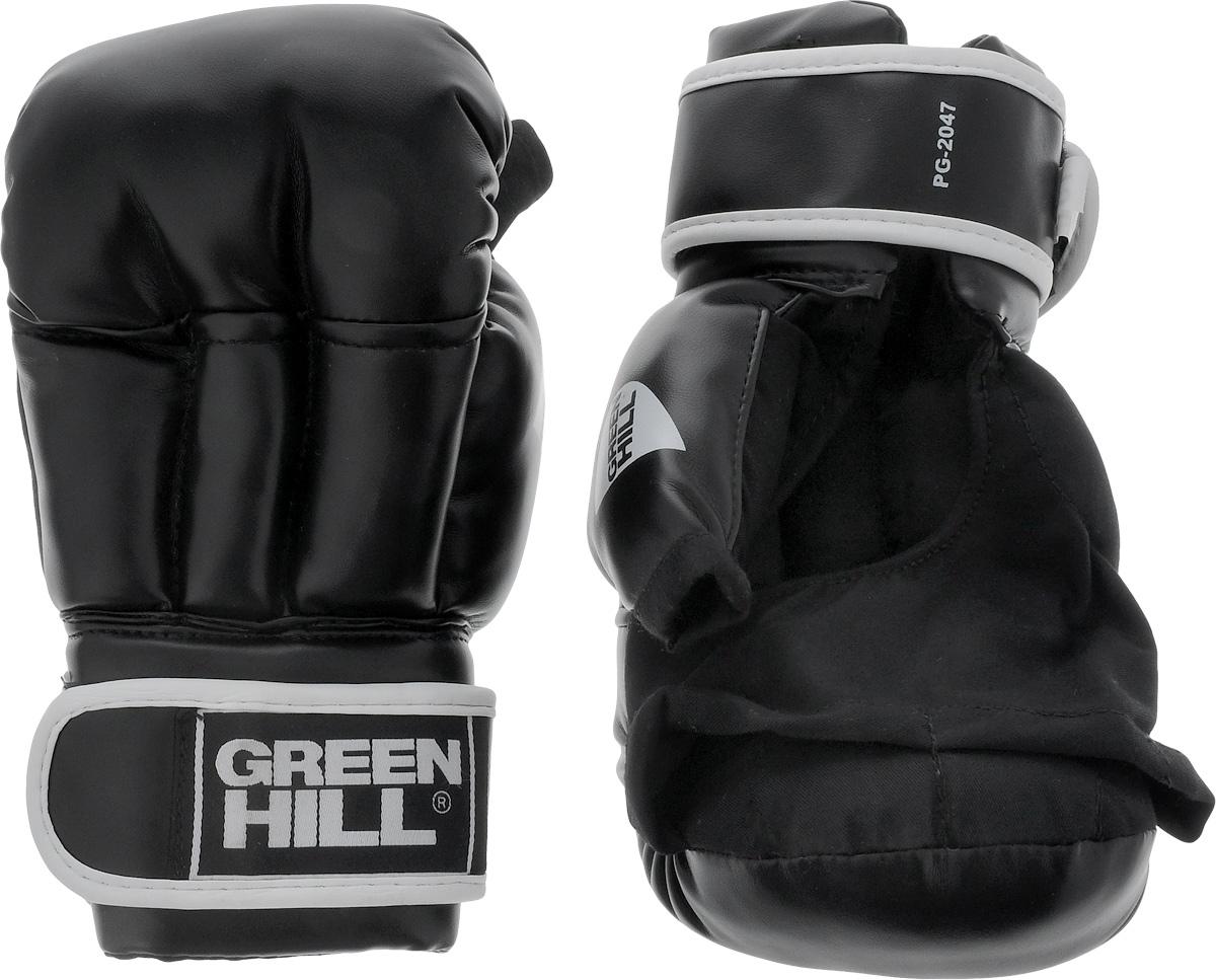 Перчатки для рукопашного боя Green Hill, цвет: черный, белый. Размер M. PG-2047PG-2047Перчатки для рукопашного боя Green Hill произведены из высококачественной искусственной кожи. Подойдут для занятий смешанными единоборствами. Конструкция предусматривает открытые пальцы - необходимый атрибут для проведения захватов. Манжеты на липучках позволяют быстро снимать и надевать перчатки без каких-либо неудобств.