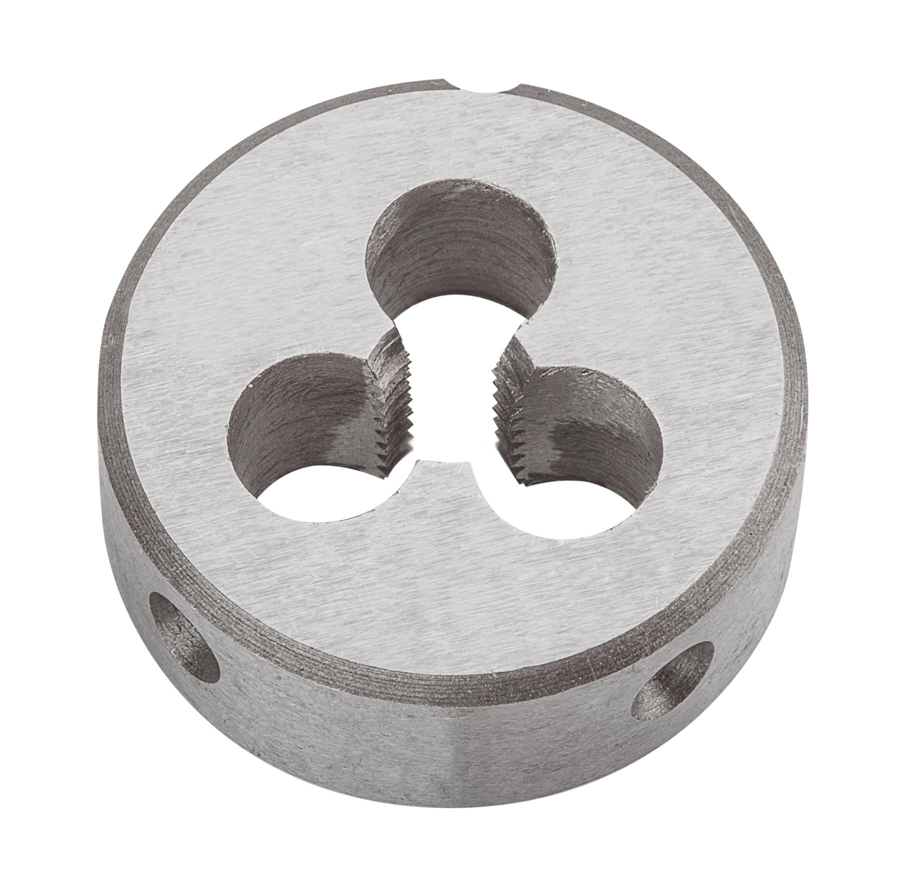Плашка вольфрамовая Topex, М5, 25 х 9 мм14A305Плашки вольфрамовые Торех используются для нарезания метрической резьбы. Характеристики: Материал: металл. Шаг резьбы: М5. Размеры плашки: 2,5 см х 0,9 см. Размеры упаковки:9 см х 5 см х 1,5 см.