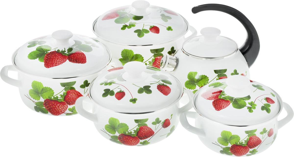 Набор посуды Эмаль Летняя ягода, 10 предметов2-3027/4_летняя ягодаНабор посуды Эмаль Летняя ягода, состоящий из трех кастрюль и чайника с крышками, изготовлен из высококачественной стали с эмалированным покрытием и оформлен изображением цветов. Эмалевое покрытие, являясь стекольной массой, не вызывает аллергии и надежно защищает пищу от контакта с металлом. Внутренняя поверхность идеально ровная, что значительно облегчает мытье. Покрытие устойчиво к механическому воздействию, не царапается и не сходит, а стальная основа практически не подвержена механической деформации, благодаря чему срок эксплуатации увеличивается. Кастрюли и чайник оснащены крышками, выполненными из стали с эмалированным покрытием, которые имеют удобные пластиковые ручки. Носик чайника оснащен насадкой-свистком, что позволит вам контролировать процесс подогрева или кипячения воды. Подходят для всех типов плит, включая индукционные. Можно мыть в посудомоечной машине. Высота стенок кастрюль: 8,5 см; 9,5 см; 11 см; 12 см. Диаметр кастрюль (по верхнему краю): 18,5 см; 20,5 см; 22,5 см; 25,5 см. Ширина кастрюль (с учетом ручек): 23 см; 25,5 см; 27,5 см; 30 см.Объем кастрюль: 1,5 л; 2 л; 3 л; 4 л. Диаметр чайника (по верхнему краю): 13 см. Высота чайника (без учета крышки и ручки): 12,5 см. Объем чайника: 2 л.