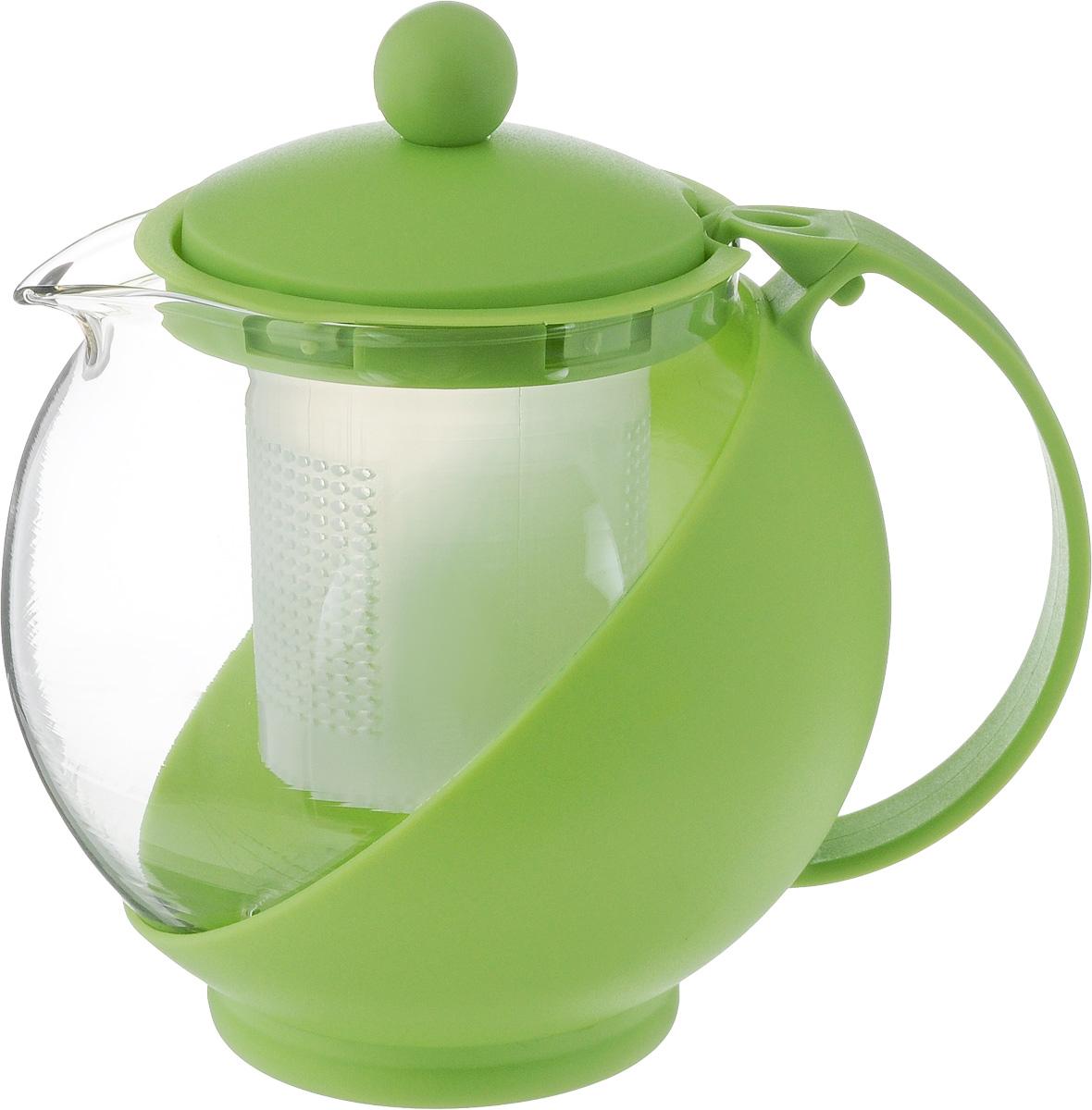 Чайник заварочный Wellberg Aqual, с фильтром, цвет: прозрачный, зеленый, 750 мл325 WB_зеленыйЗаварочный чайник Wellberg Aqual изготовлен из высококачественного пищевого пластика и жаропрочного стекла. Чайник имеет пластиковый фильтр и оснащен удобной ручкой. Крышка плотно закрывается, а удобный носик предотвращает проливание жидкости. Чайник прекрасно подойдет для заваривания чая и травяных напитков. Высота чайника (без учета крышки): 11,5 см.Высота чайника (с учетом крышки): 14 см. Диаметр (по верхнему краю): 8 см.Высота фильтра: 6,5 см.