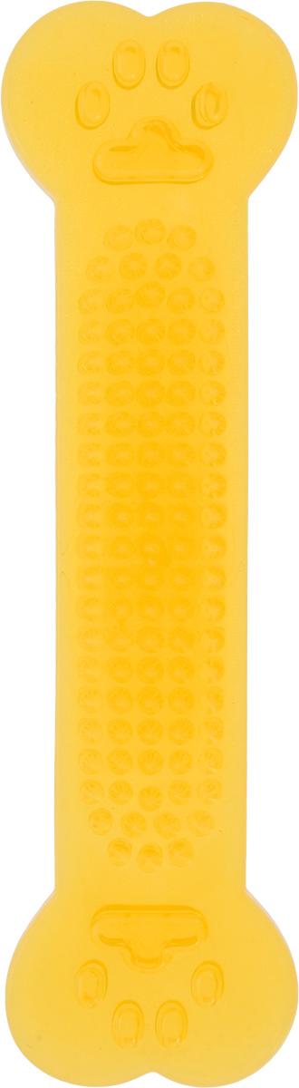 Игрушка для собак Каскад Кость шипованная, для чистки зубов, цвет: желтый, длина 18 см игрушка для животных каскад гамбургер диаметр 7 5 см