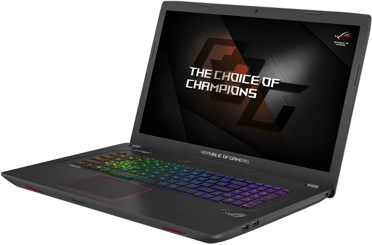 ASUS ROG GL753VD (GL753VD-GC144)GL753VD-GC144ASUS ROG GL753VD - это новейший геймерский ноутбук, который справится с самыми современными играми.GeForce GTX 1050 - это современный графический процессор, способный справиться с самыми требовательными компьютерными играми. Новая микроархитектура NVIDIA Pascal наделяет его высокой производительностью, а поддержка самых современных технологий максимально расширяет его функциональность.Клавиатура ноутбука оптимизирована специально для геймеров, поэтому группа клавиш WASD, традиционно используемая для навигации в игре, ярко выделена. Прочная и эргономичная, эта клавиатура оснащается клавишами ножничного типа с оптимальным ходом (2,5 мм) и четырехзонной RGB-подсветкой, которая позволит с комфортом играть даже ночью. Для удобства игры пробел клавиатуры имеет увеличенную площадь, а клавиши навигации отделены от остальных.В ноутбуке ROG Strix GL753 реализована высокоэффективная система охлаждения Cooling Overboost с управляемой скоростью вращения вентиляторов. Она обеспечивает стабильную работу системы при любом уровне загрузки процессора.В ASUS ROG GL753VD используется высококачественная 17,3-дюймовая матрица с разрешением Full HD, чье матовое покрытие минимизирует раздражающие блики, а широкие углы обзора являются залогом точной цветопередачи.В ноутбуке ROG Strix GL753 может быть установлено до 32 гигабайт оперативной памяти DDR4, которая сочетает в себе высокую производительность с невероятно низким энергопотреблением.Компактный разъем USB Type-C имеет специальную конструкцию, которая позволяет подключать USB-кабель к устройству любой стороной.ASUS ROG GL753VD предлагает множество функций для организации онлайн-трансляций геймерских сессий с великолепным качеством звука и изображения. Микрофонный массив, реализованный в данном ноутбуке, наделен технологией фильтрации шумов для кристально чистой записи голоса.Программное обеспечение ROG Gaming Center - это комплексный центр управления всевозможными геймерскими функциями. С по