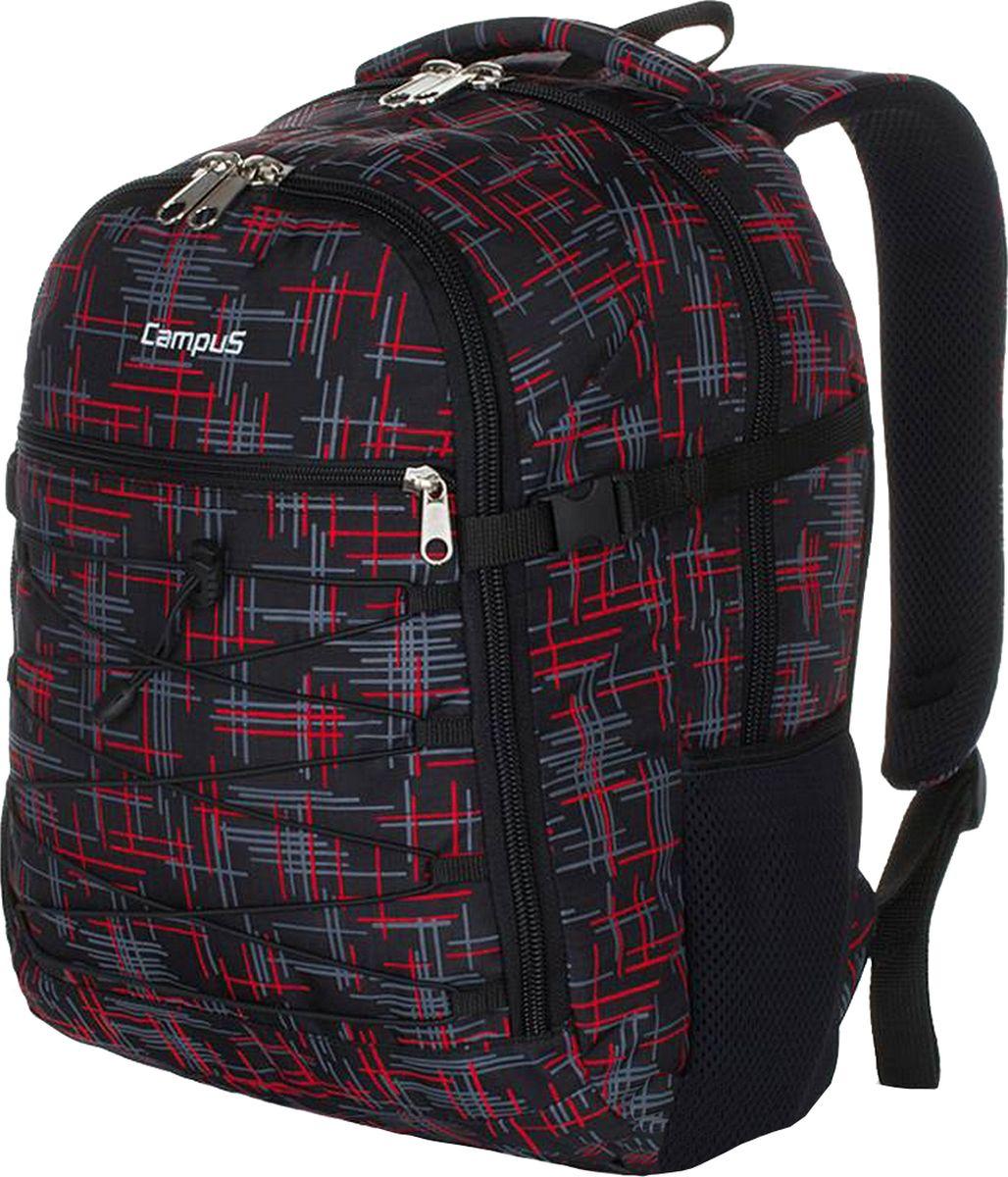 Рюкзак городской Campus Murter, цвет: черный, красный, 35 л. 50380251308275038025130827Рюкзак Campus Murter идеально подходит для пеших прогулок, так и для повседневного использования. Рюкзак сделан из высококачественныхматериалов, поэтому отличается высокой прочностью.Особенности рюкзака: - материал полиэстер ripstop,- очень прочные и долговечные молнии,- усиленная нижняя часть рюкзака,- два основных отделения, на молнии, в одном из них имеетсяорганайзер на молнии,- передний карман на молнии,- резиновый рант на переднем кармане,- боковые компрессионные ремни,- боковой карман для фляги,- ручка для переноски,- ручка (держатель), чтобы повесить рюкзак,- удобная спинка и плечевые ремни.