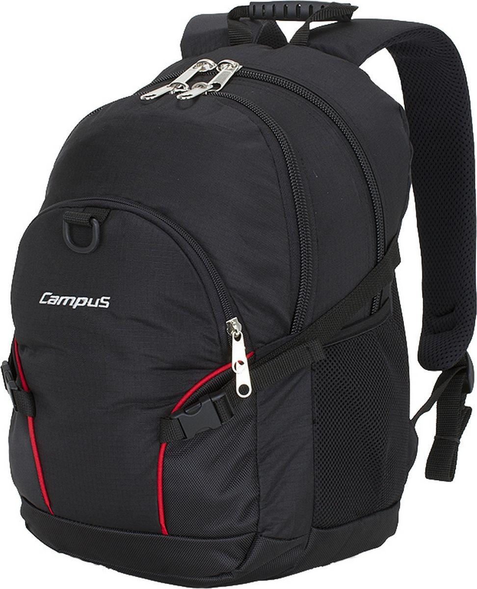 Рюкзак городской Campus Kornat, цвет: черный, 30 л. 50380251320505038025132050Вместительный рюкзак Kornat идеально подходит для повседневного ношения или как школьный. Он выполнен из полиэстера.Два основное отделения закрываются на молнию. Спинка рюкзака с дополнительными накладками, благодаря которым циркулирует воздух, создавая эффект вентиляции, а также обеспечивает влагоиспарение. Плечевые ремни имеют эргономичную конструкцию с постоянной точкой крепления.Особенности:- очень прочные и долговечные молнии;- усиленная нижняя часть рюкзака;- внутренний органайзер;- компрессионные боковые ремни;- 2 боковых кармана для фляг. Емкость: 30 л.Вес: 0,7 кг.