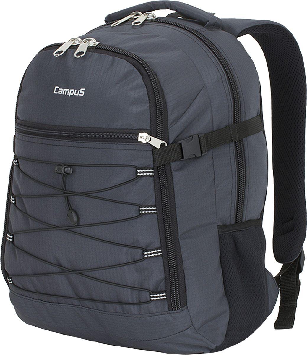 Рюкзак городской Campus Murter, цвет: графитовый, 35 л. 50380251827035038025182703Рюкзак Campus Murter идеально подходит для пеших прогулок, так и для повседневного использования. Рюкзак сделан из высококачественныхматериалов, поэтому отличается высокой прочностью.Особенности рюкзака: - материал полиэстер ripstop,- очень прочные и долговечные молнии,- усиленная нижняя часть рюкзака,- два основных отделения, на молнии, в одном из них имеетсяорганайзер на молнии,- передний карман на молнии,- резиновый рант на переднем кармане,- боковые компрессионные ремни,- боковой карман для фляги,- ручка для переноски,- ручка (держатель), чтобы повесить рюкзак,- удобная спинка и плечевые ремни.