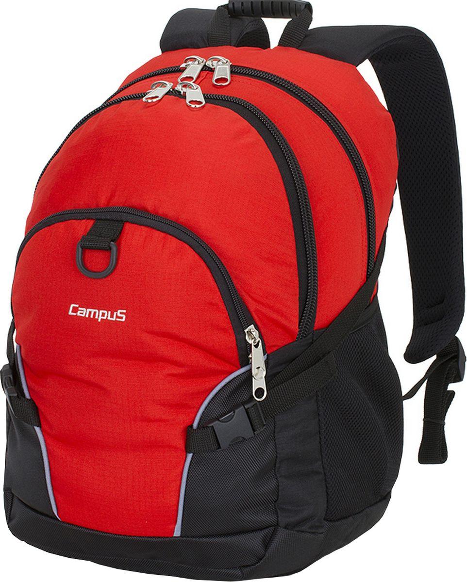 Рюкзак городской Campus Kornat, цвет: красный, черный, 30 л. 50380251827275038025182727Вместительный рюкзак Kornat идеально подходит для повседневного ношения или как школьный. Он выполнен из полиэстера.Два основное отделения закрываются на молнию. Спинка рюкзака с дополнительными накладками, благодаря которым циркулирует воздух, создавая эффект вентиляции, а также обеспечивает влагоиспарение. Плечевые ремни имеют эргономичную конструкцию с постоянной точкой крепления.Особенности:- очень прочные и долговечные молнии;- усиленная нижняя часть рюкзака;- внутренний органайзер;- компрессионные боковые ремни;- 2 боковых кармана для фляг. Емкость: 30 л.Вес: 0,7 кг.