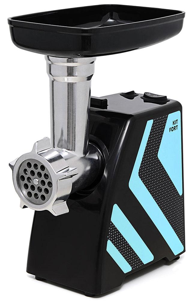 Kitfort КТ-2101-1 мясорубкаКТ-2101-1Мясорубка Kitfort KT-2101 Carnivora оснащена мотором высокой мощности в прочном пластиковом корпусе. Цвето-фактурное решение корпуса модели разработано в Студии Артемия Лебедева.Мясорубка имеет одну скорость работы и функцию реверса. В комплект входят решетки для изготовления фарша с отверстиями 5 и 7 мм, а также специальные насадки для колбас и кеббе. Корпус и лоток мясорубки легко мыть и чистить. Эта модель компактна и удобна в использовании, а ее уникальный внешний дизайн украсит любую кухню. Класс защиты от поражения электрическим током: II.