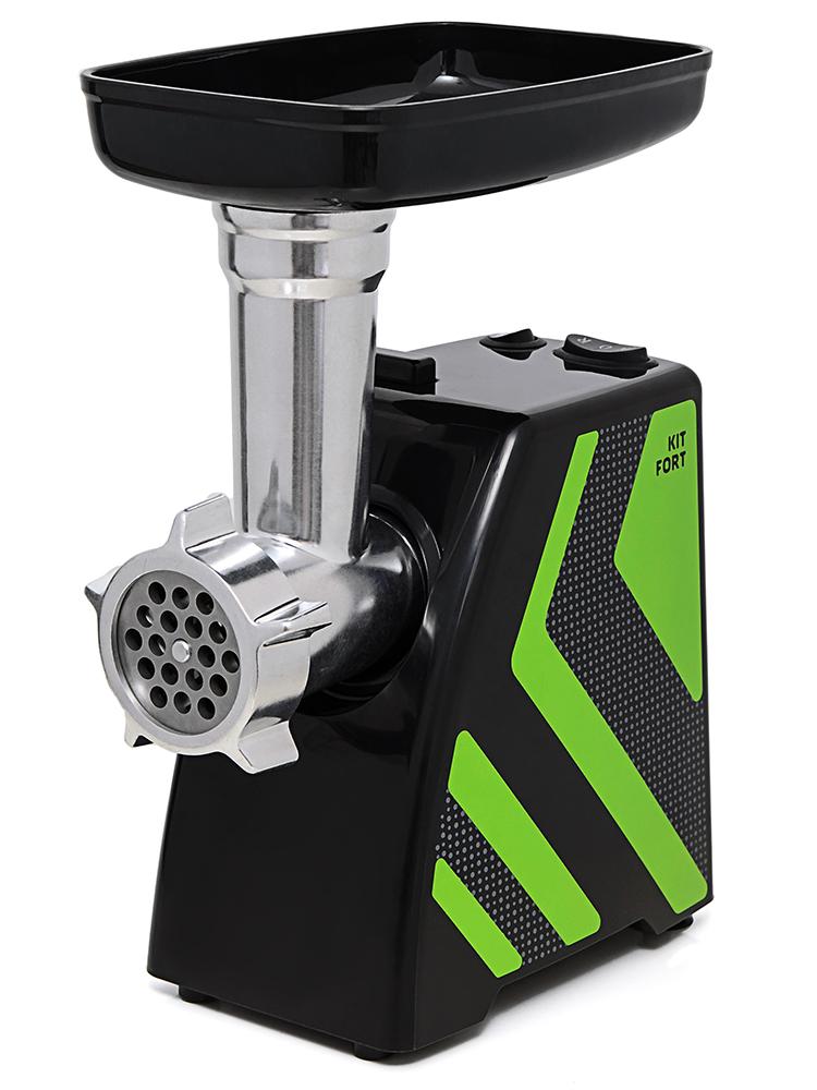 Kitfort КТ-2101-2 мясорубкаКТ-2101-2Мясорубка Kitfort KT-2101 Carnivora оснащена мотором высокой мощности в прочном пластиковом корпусе. Цвето-фактурное решение корпуса модели разработано в Студии Артемия Лебедева. Мясорубка имеет одну скорость работы и функцию реверса. В комплект входят решетки для изготовления фарша с отверстиями 5 и 7 мм, а также специальные насадки для колбас и кеббе. Корпус и лоток мясорубки легко мыть и чистить. Эта модель компактна и удобна в использовании, а ее уникальный внешний дизайн украсит любую кухню.Класс защиты от поражения электрическим током: II.
