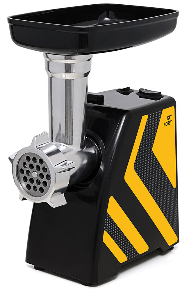 Kitfort КТ-2101-4 мясорубкаКТ-2101-4Мясорубка Kitfort KT-2101 Carnivora оснащена мотором высокой мощности в прочном пластиковом корпусе. Цвето-фактурное решение корпуса модели разработано в Студии Артемия Лебедева. Мясорубка имеет одну скорость работы и функцию реверса. В комплект входят решетки для изготовления фарша с отверстиями 5 и 7 мм, а также специальные насадки для колбас и кеббе. Корпус и лоток мясорубки легко мыть и чистить. Эта модель компактна и удобна в использовании, а ее уникальный внешний дизайн украсит любую кухню.Класс защиты от поражения электрическим током: II.