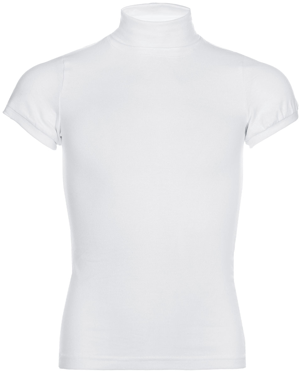 Водолазка для девочки LeadGen, цвет: белый. G970007914-172. Размер 164G970007914-172Водолазка для девочки LeadGen выполнена из эластичного хлопкового трикотажа. Модель с короткими рукавами и воротником-гольф.