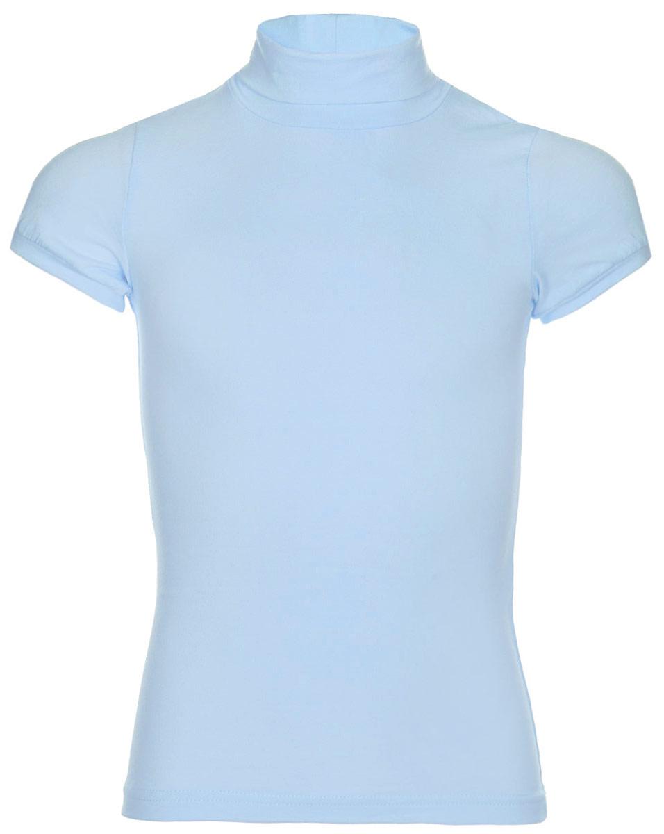 Водолазка для девочки LeadGen, цвет: голубой. G970008001-172. Размер 122G970008001-172Водолазка для девочки LeadGen выполнена из эластичного хлопкового трикотажа. Модель с короткими рукавами и воротником-гольф.