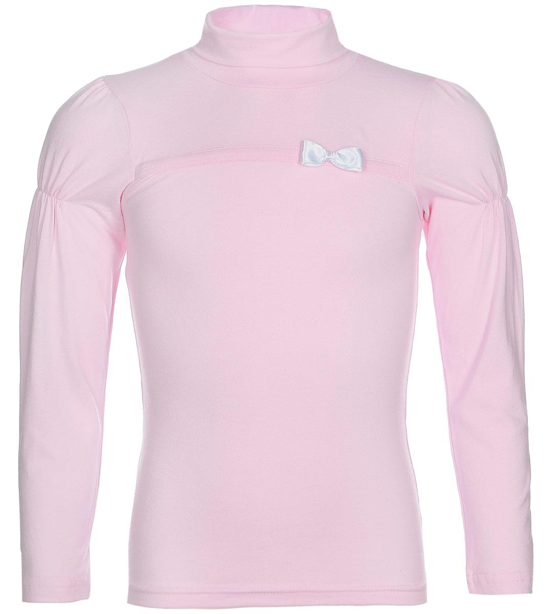 Водолазка для девочки LeadGen, цвет: розовый. G935006616-172. Размер 134G935006616-172Водолазка для девочки LeadGen выполнена из эластичного хлопкового трикотажа. Модель с длинными рукавами и воротником-гольф на груди оформлена лаконичным бантиком. Рукава на плечах присборены.