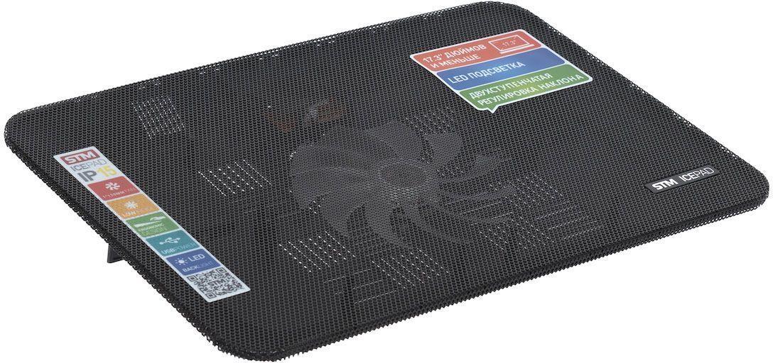 STM IP15, Black охлаждающая подставка для ноутбукаSTM IP15Охлаждающая подставка для ноутбуков диагональю до 173, USB - 1 порт.