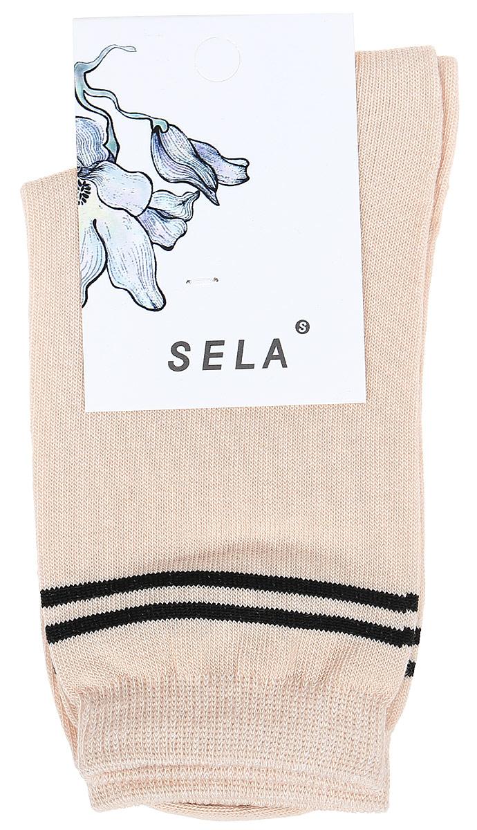 Носки женские Sela, цвет: молочный. SOb-154/064-7462. Размер 19/21SOb-154/064-7462Удобные женские носки Sela изготовлены из высококачественного приятного на ощупь материала и оформлены контрастными полосками. Благодаря содержанию мягкого хлопка в составе, кожа сможет дышать, а эластан позволяет носкам легко тянуться, что делает их комфортными в носке. Мягкая эластичная резинка плотно облегает ногу, не сдавливая ее, и обеспечивает комфорт и удобство. Уважаемые клиенты! Размер, доступный для заказа, является длиной стопы.