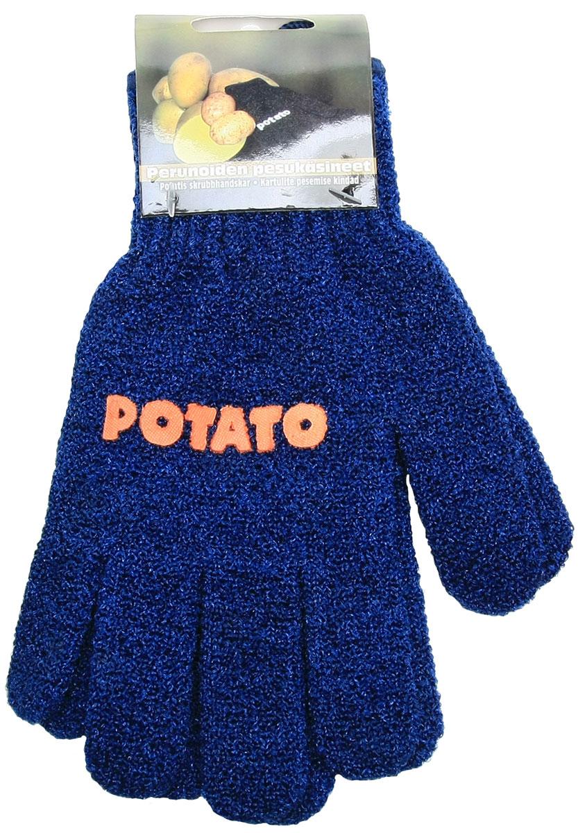Перчатки хозяйственные Natura, для чистки молодого картофеля и овощей, цвет: синий щётка для чистки овощей