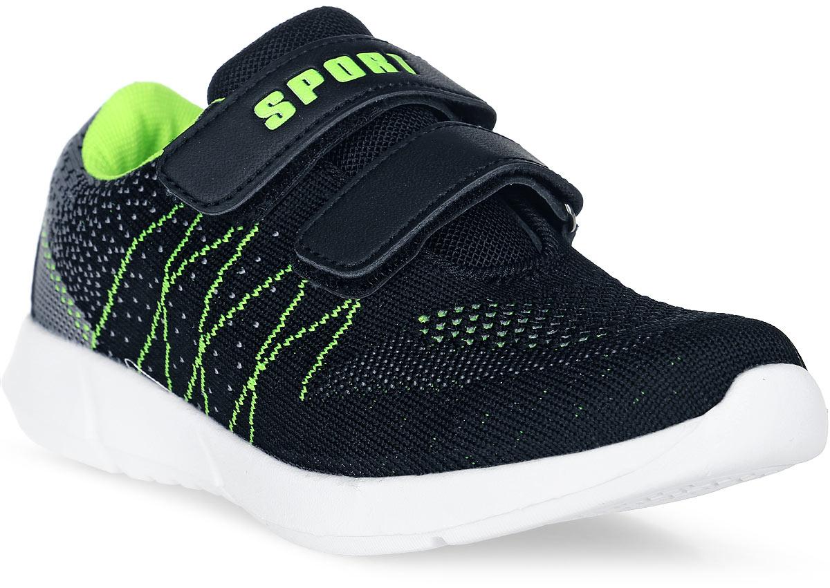 Кроссовки для мальчика Счастливый ребенок, цвет: черный, салатовый. M7211-1. Размер 27M7211-1Стильные кроссовки для мальчика Счастливый ребенок выполнены из текстиля. Подошва белого цвета изготовлена из легкого, гибкого и прочного термопластичного материала. Она обеспечивает отличную амортизацию и смягчает удары от соприкосновения обуви с поверхностью, а небольшой рельеф создает надежное сцепление с землей или асфальтом. Внутренняя поверхность и стелька выполнены из натуральной кожи. Кроссовки застегиваются с помощью ремешков на липучки, благодаря которым можно регулировать объем обуви.