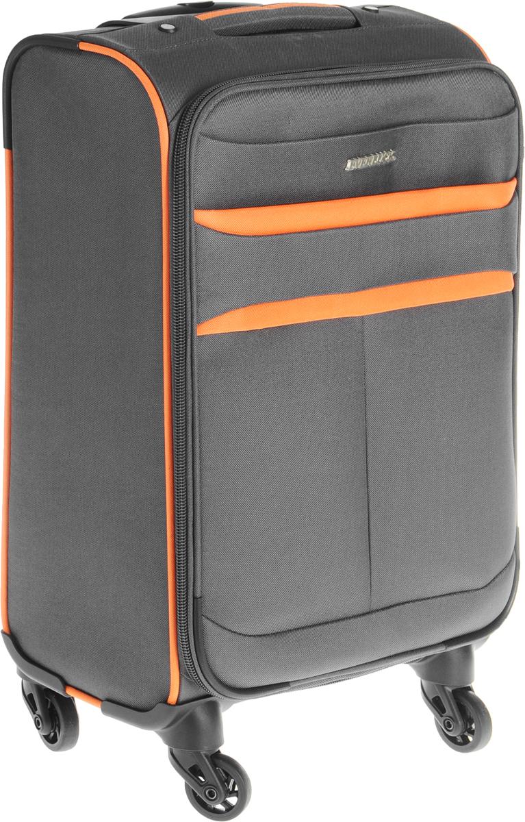 Чемодан Everluck, цвет: серый, оранжевый, 30 л.ET1320_50 cmЧемодан Everluck прекрасно подойдет для путешествий. Он выполнен из плотного100% полиэстера.Чемодан имеет одно большое отделение, которое закрывается по периметру на застежку- молнию с двумя бегунками. Бегунки оснащены петельками, благодаря которым чемодан можнозакрыть на замок (замок с двумя ключами входят в комплект). Внутри отделения имеютсяэластичные багажные ремни, застегивающиеся на пластиковые застежки-защелки. На крышке,с внутренней стороны, предусмотрен большой карман на застежке-молнии. Снаружи, на лицевойстороне крышки расположены два нашивных кармана на застежках-молниях.Для удобной перевозки чемодан оснащен четырьмя колесиками, которые обеспечиваютлегкость перемещения. Телескопическая ручка выдвигается нажатием на кнопку. Сверхупредусмотрена эргономичная ручка для поднятия чемодана и переноски в руке. На тыльнойстороне чемодана имеется выдвижная пластиковая бирка, на которой пишется адрес, телефони Ф.И.О. владельца. Чемодан Everluck вместит все необходимые вещи и станет незаменимым аксессуаром вовремя поездок.Размер чемодана (ДхШхВ): 36 x 20 х 50 см.Высота чемодана (с учетом колес и максимально выдвинутой ручки): 106 см.Высота выдвижной ручки: 52 см.Диаметр колеса: 5 см. Объем чемодана: 30 л.